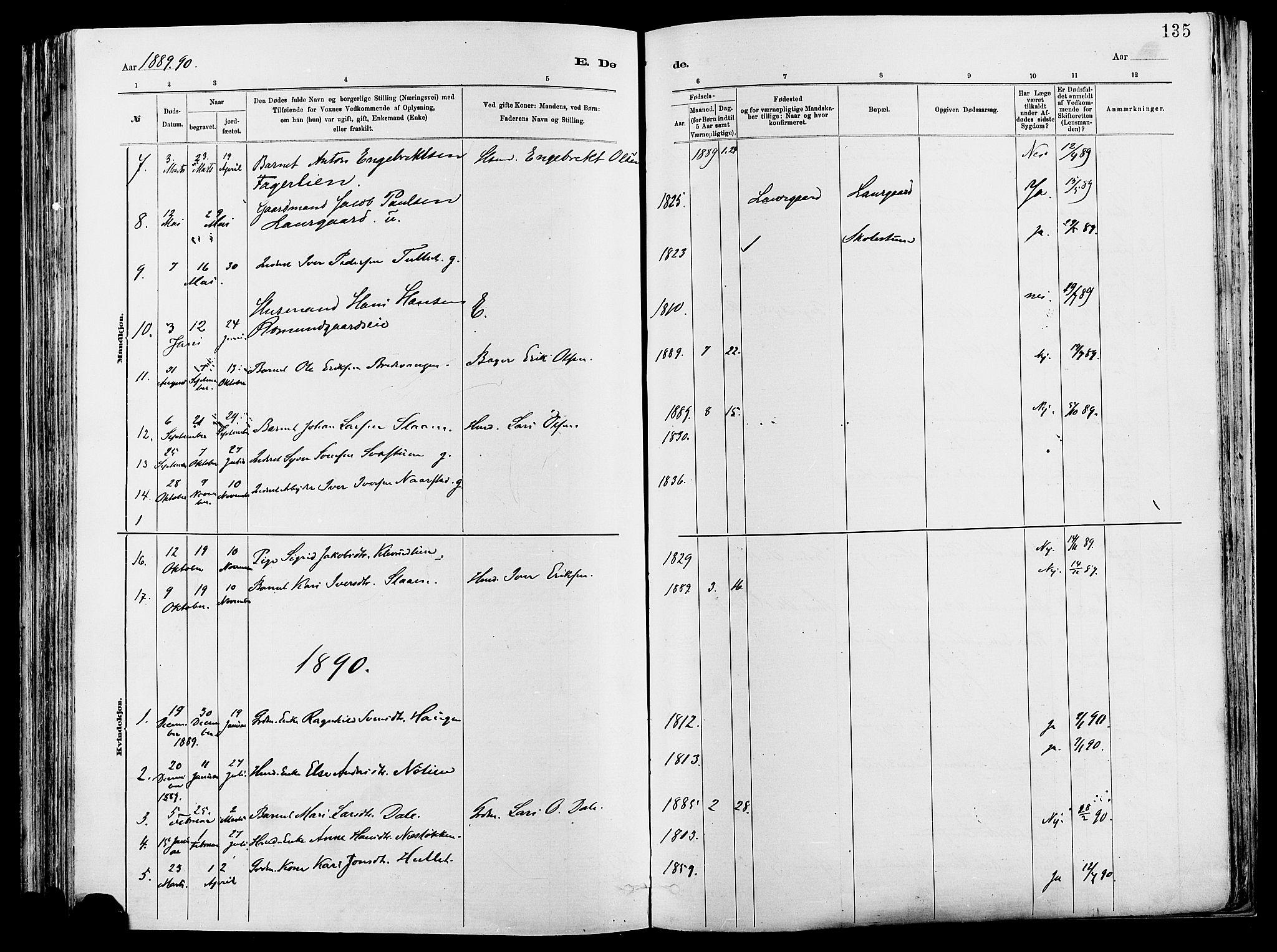 SAH, Vågå prestekontor, Ministerialbok nr. 8, 1886-1904, s. 135