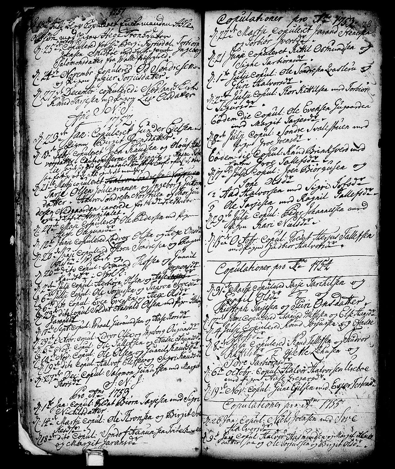 SAKO, Vinje kirkebøker, F/Fa/L0001: Ministerialbok nr. I 1, 1717-1766, s. 38