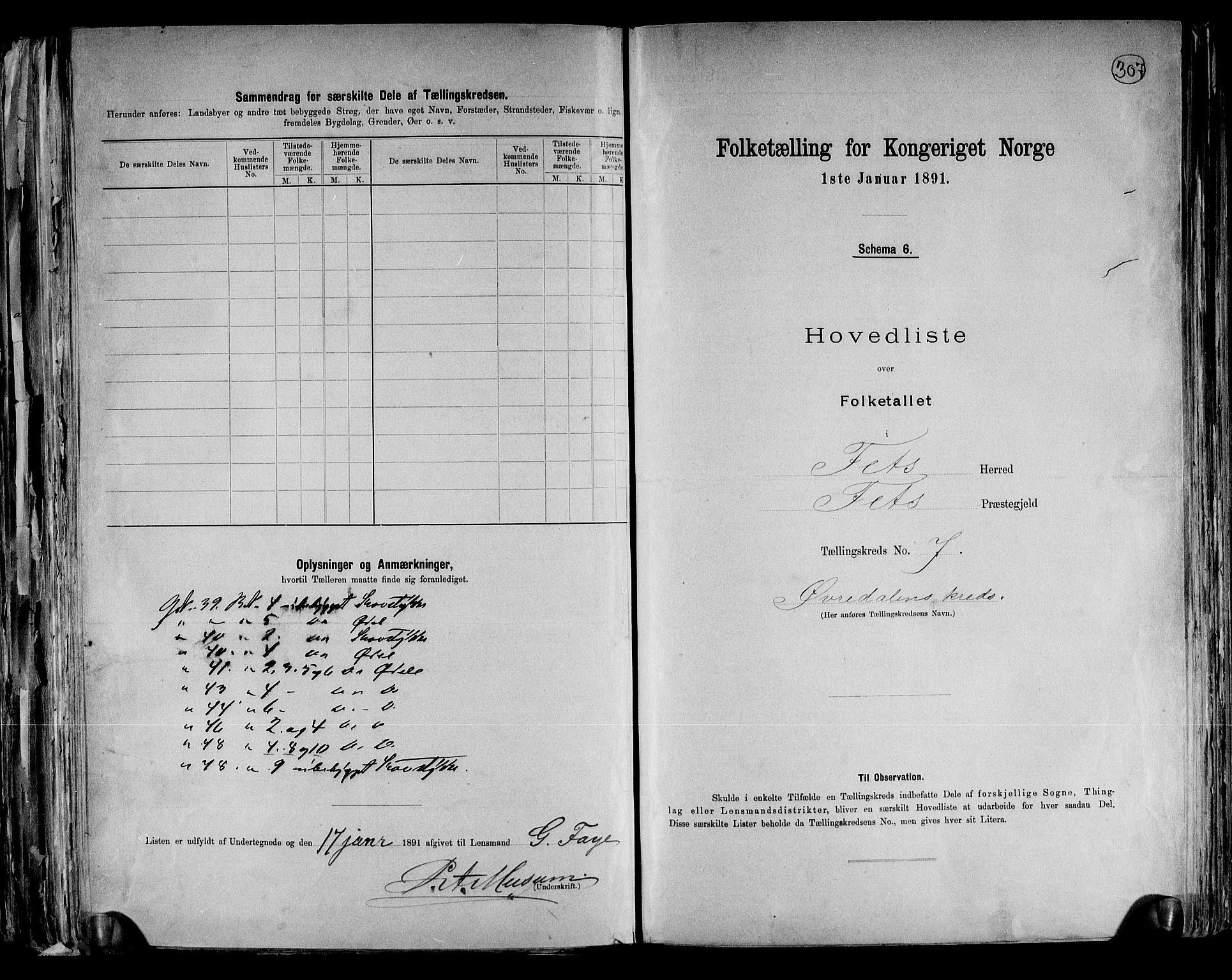 RA, Folketelling 1891 for 0227 Fet herred, 1891, s. 17
