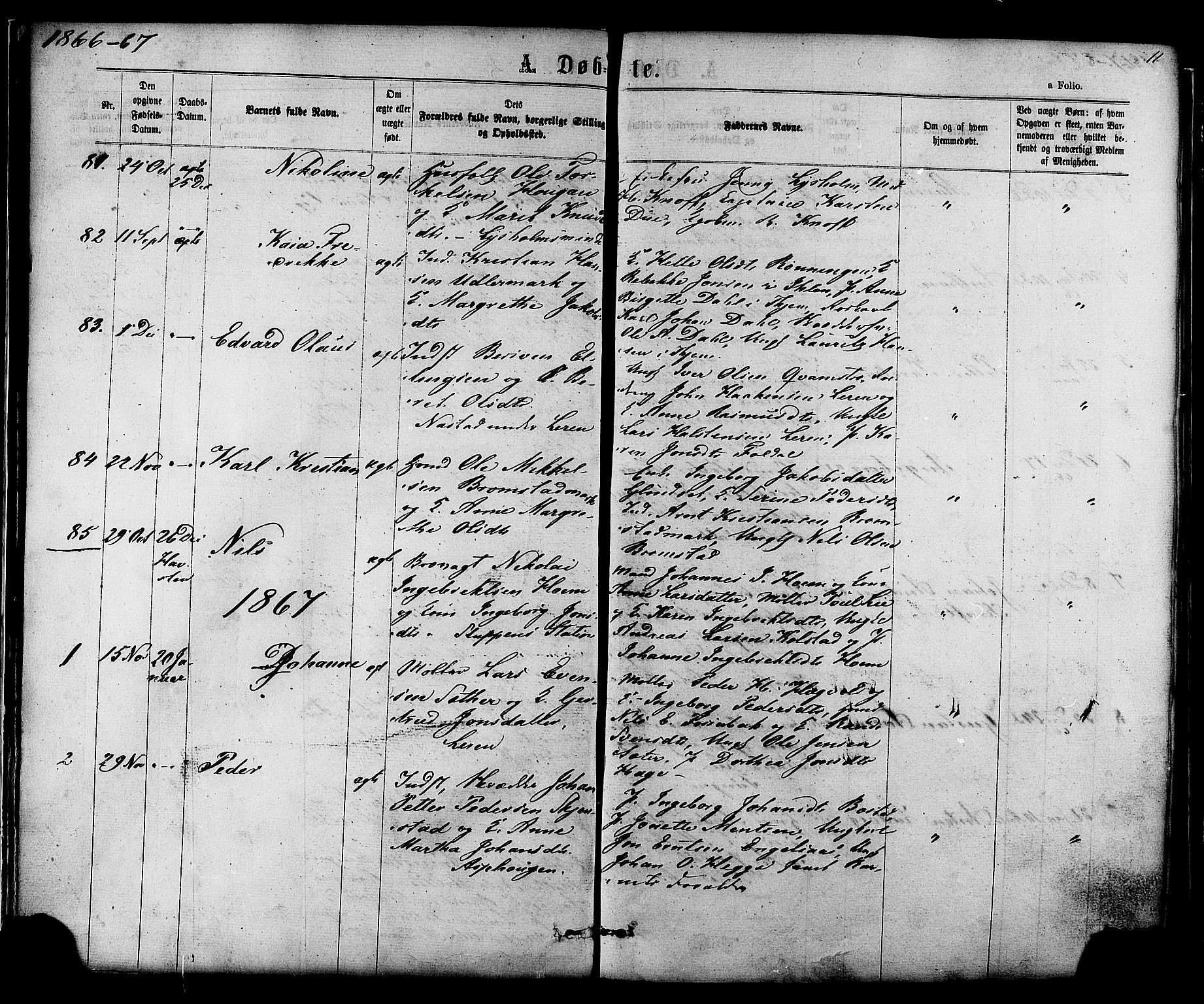 SAT, Ministerialprotokoller, klokkerbøker og fødselsregistre - Sør-Trøndelag, 606/L0293: Ministerialbok nr. 606A08, 1866-1877, s. 11