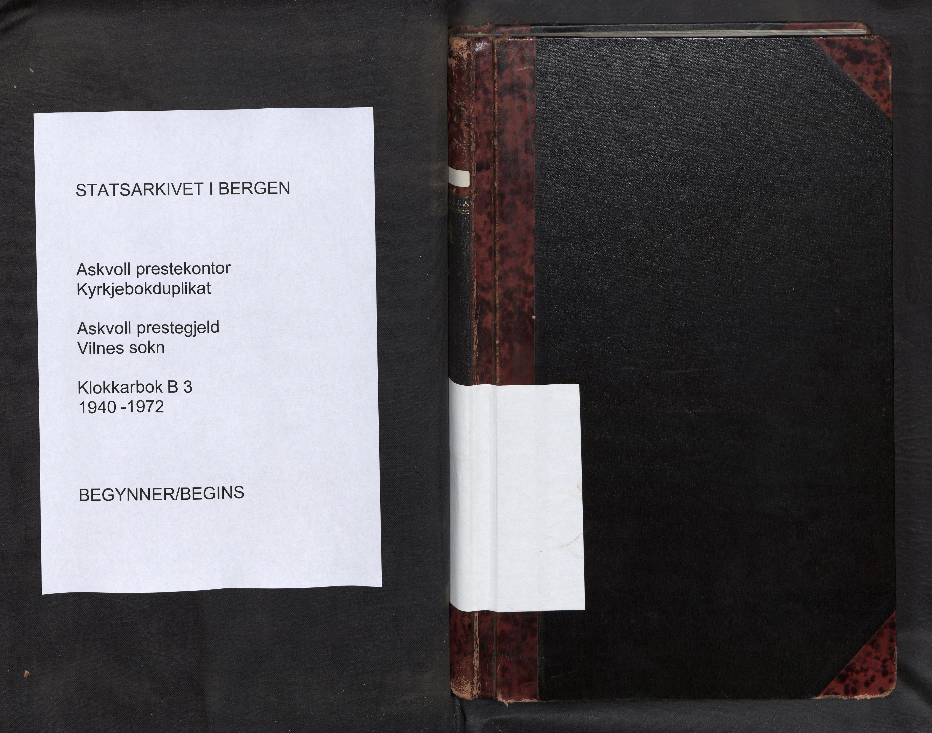 SAB, Askvoll Sokneprestembete, Klokkerbok nr. B 3, 1940-1971