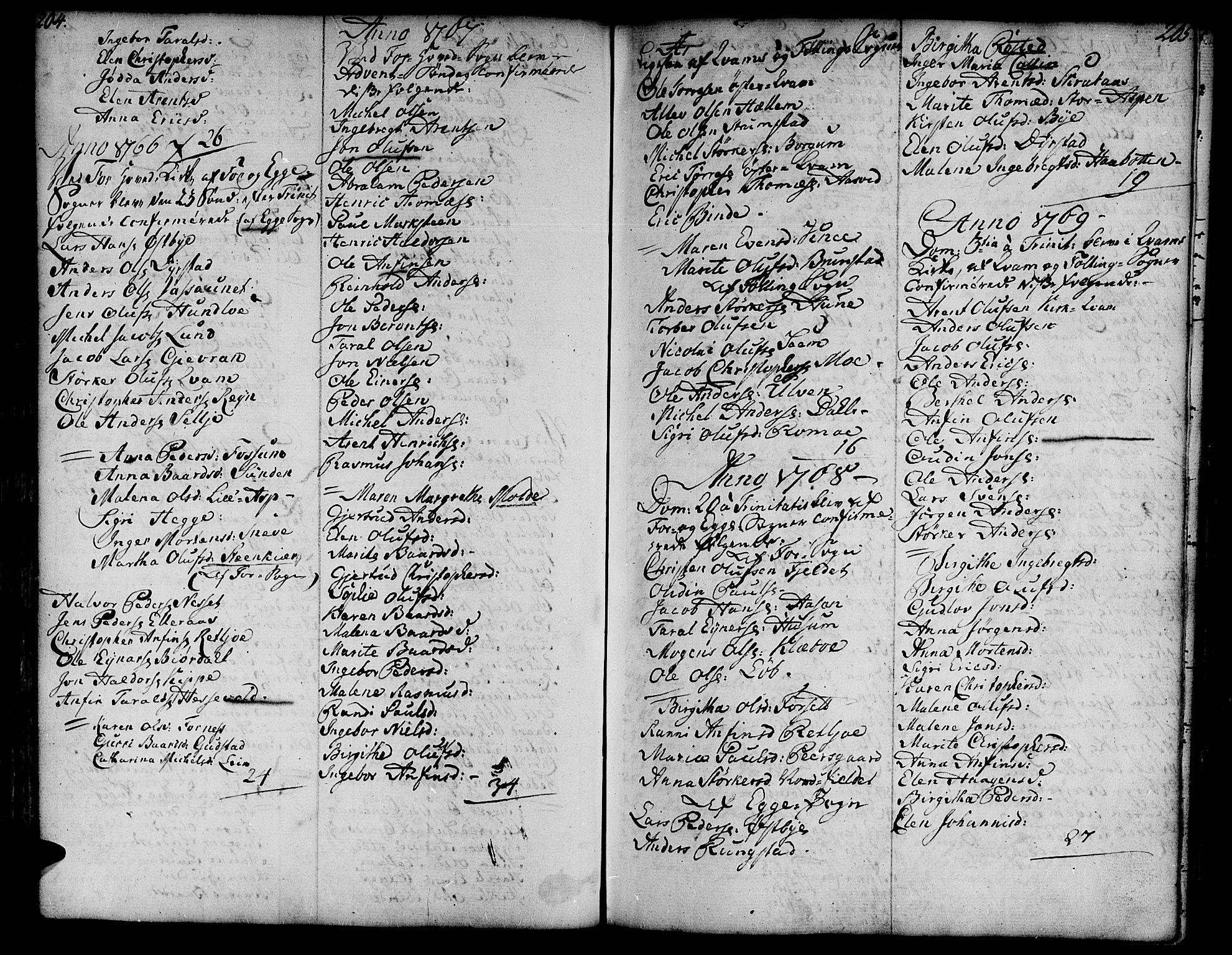 SAT, Ministerialprotokoller, klokkerbøker og fødselsregistre - Nord-Trøndelag, 746/L0440: Ministerialbok nr. 746A02, 1760-1815, s. 204-205