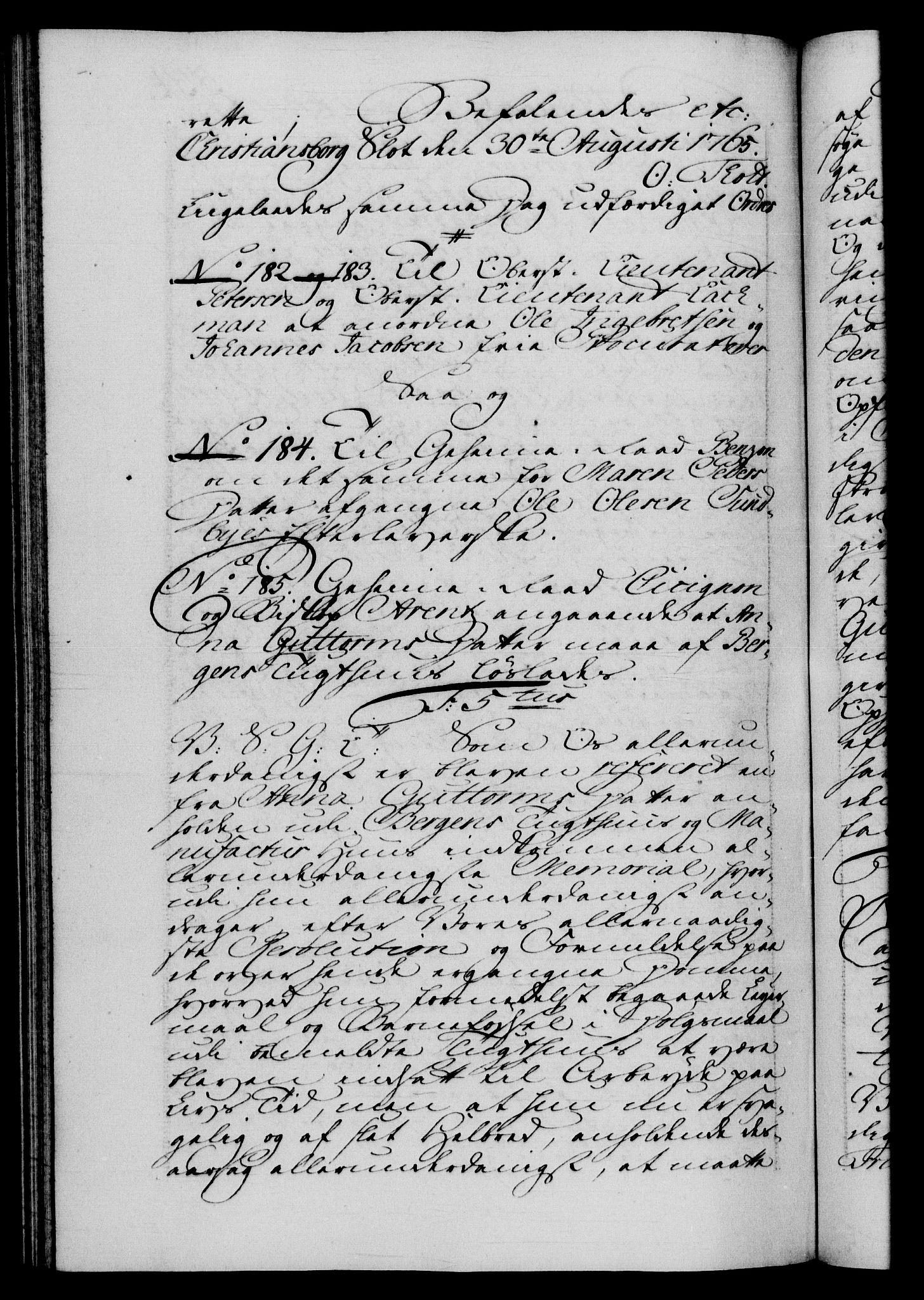 RA, Danske Kanselli 1572-1799, F/Fc/Fca/Fcab/L0037: Norske tegnelser, 1762-1766, s. 534b