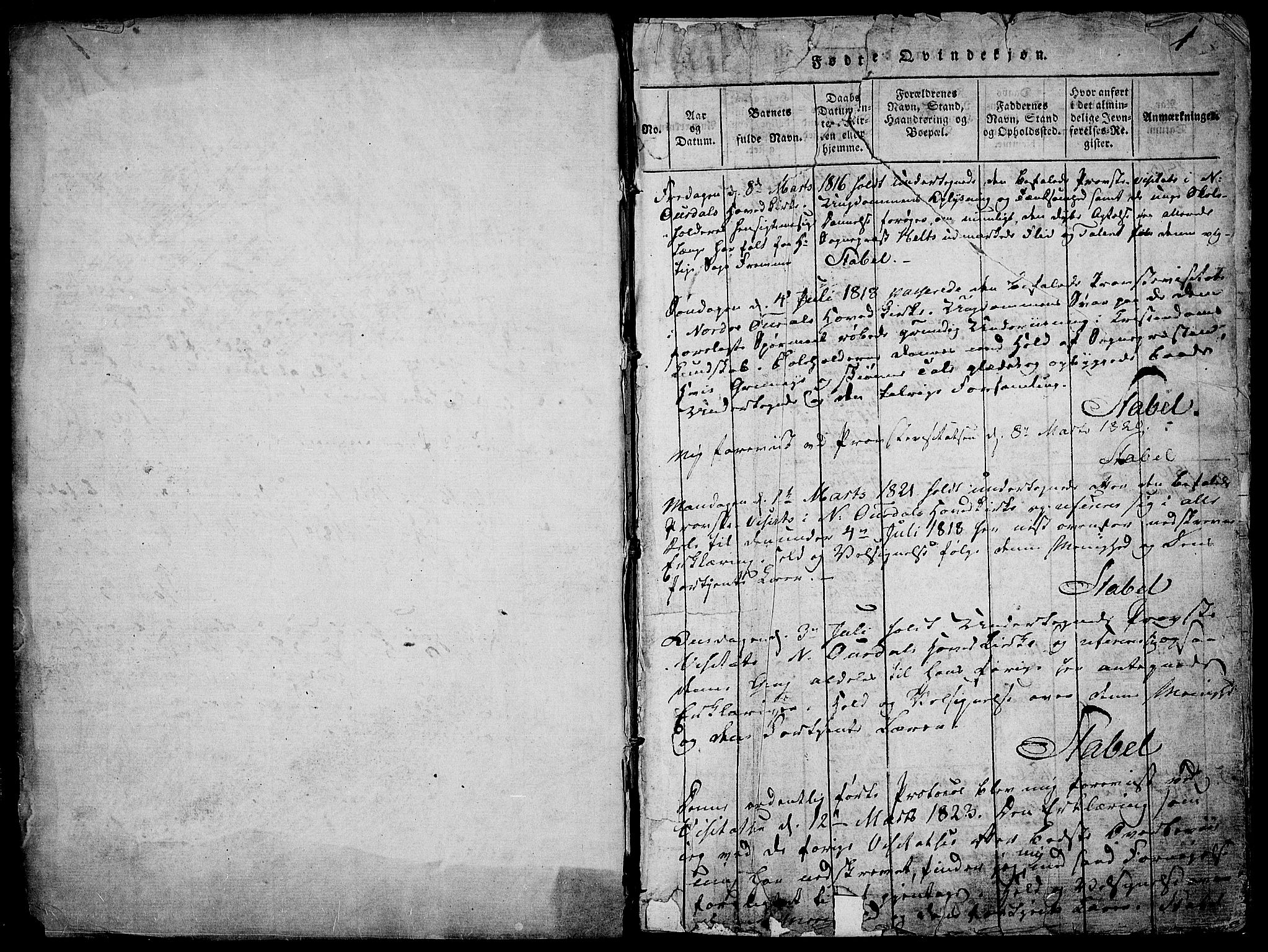 SAH, Nord-Aurdal prestekontor, Ministerialbok nr. 2, 1816-1828, s. 1