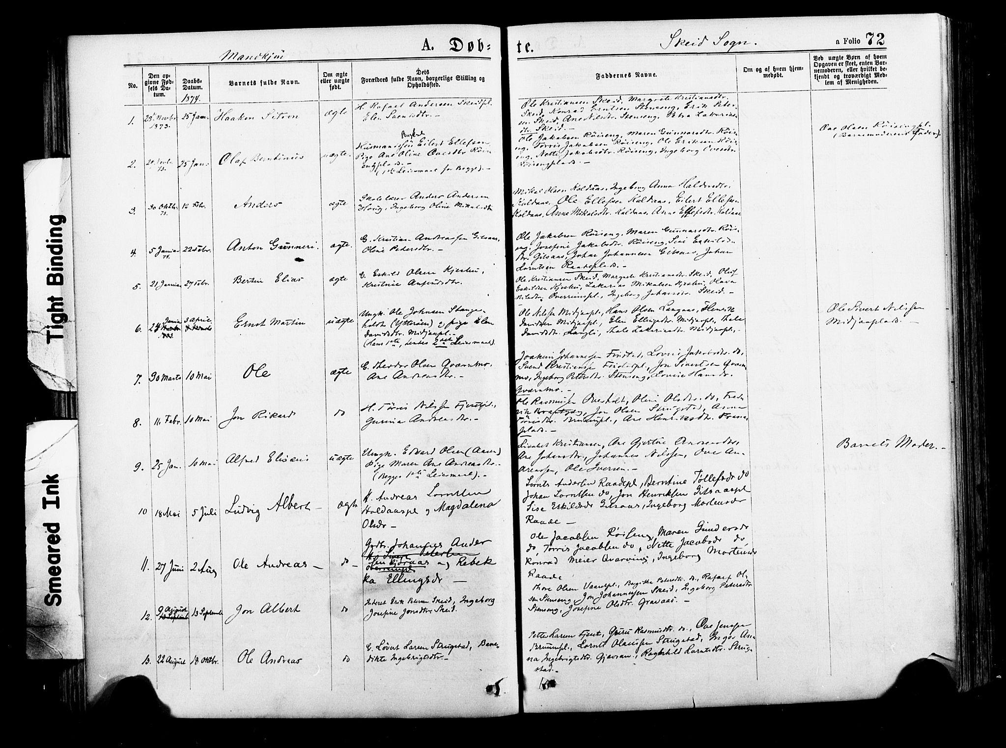 SAT, Ministerialprotokoller, klokkerbøker og fødselsregistre - Nord-Trøndelag, 735/L0348: Ministerialbok nr. 735A09 /2, 1873-1883, s. 72