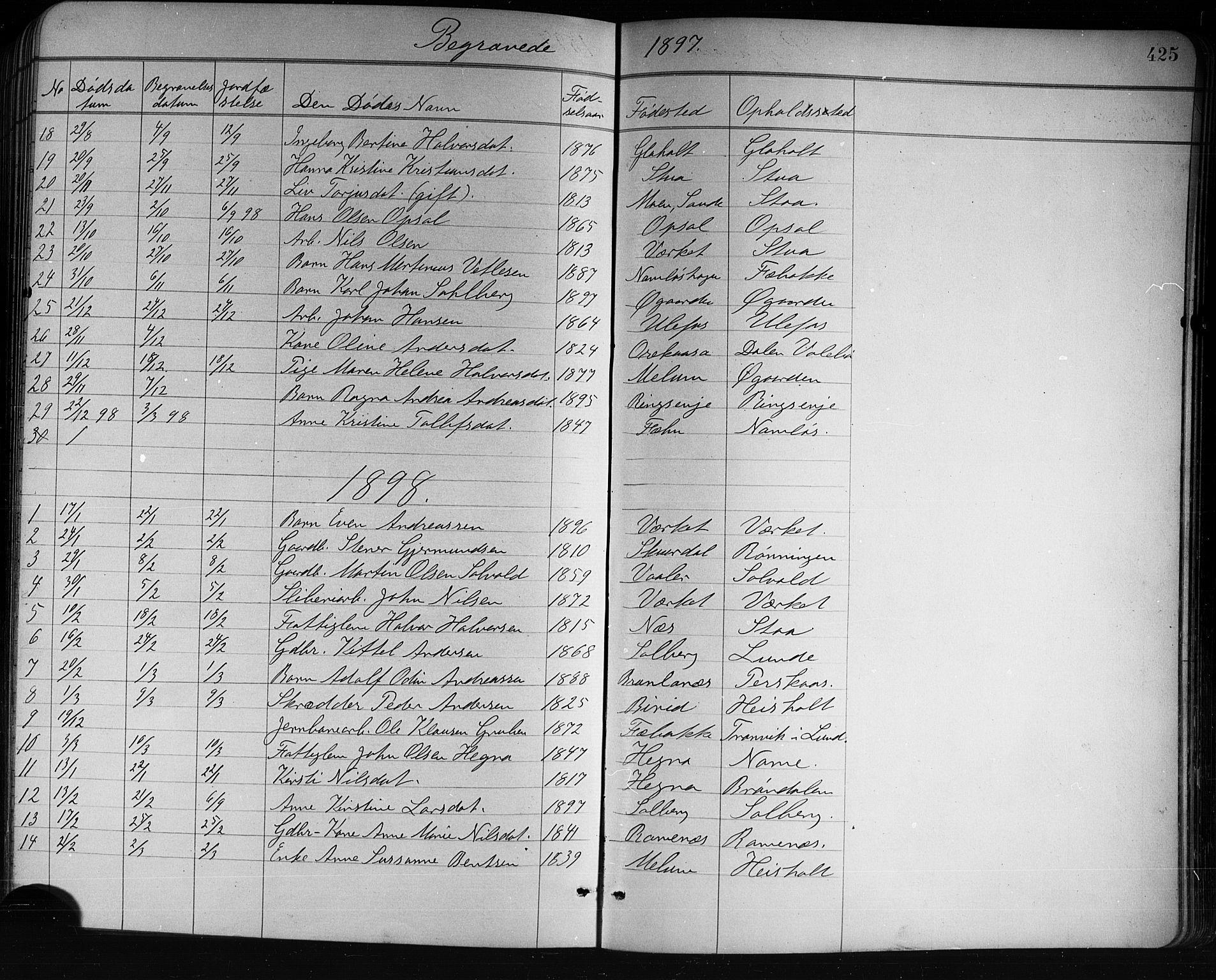 SAKO, Holla kirkebøker, G/Ga/L0005: Klokkerbok nr. I 5, 1891-1917, s. 425