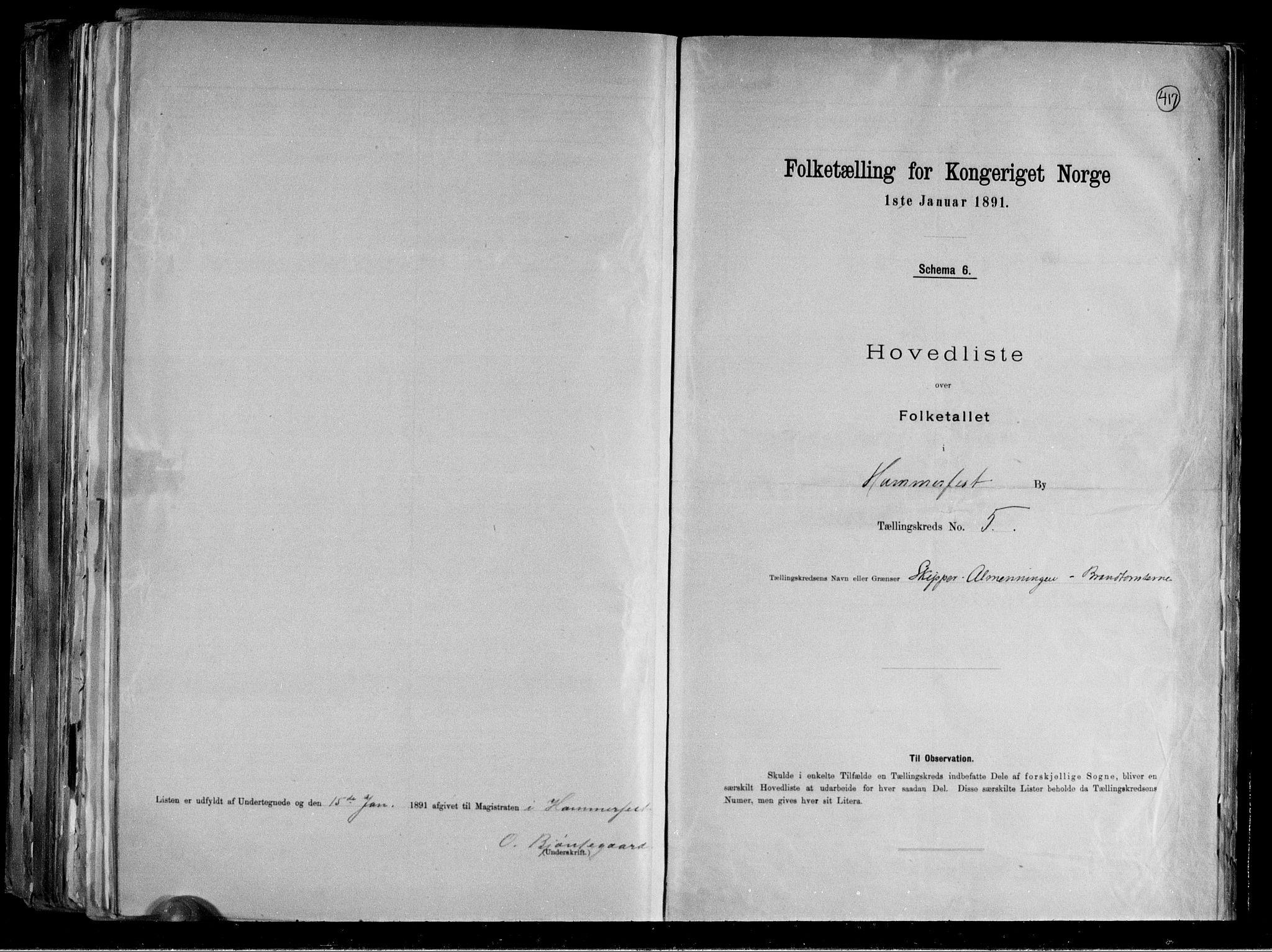 RA, Folketelling 1891 for 2001 Hammerfest kjøpstad, 1891, s. 13