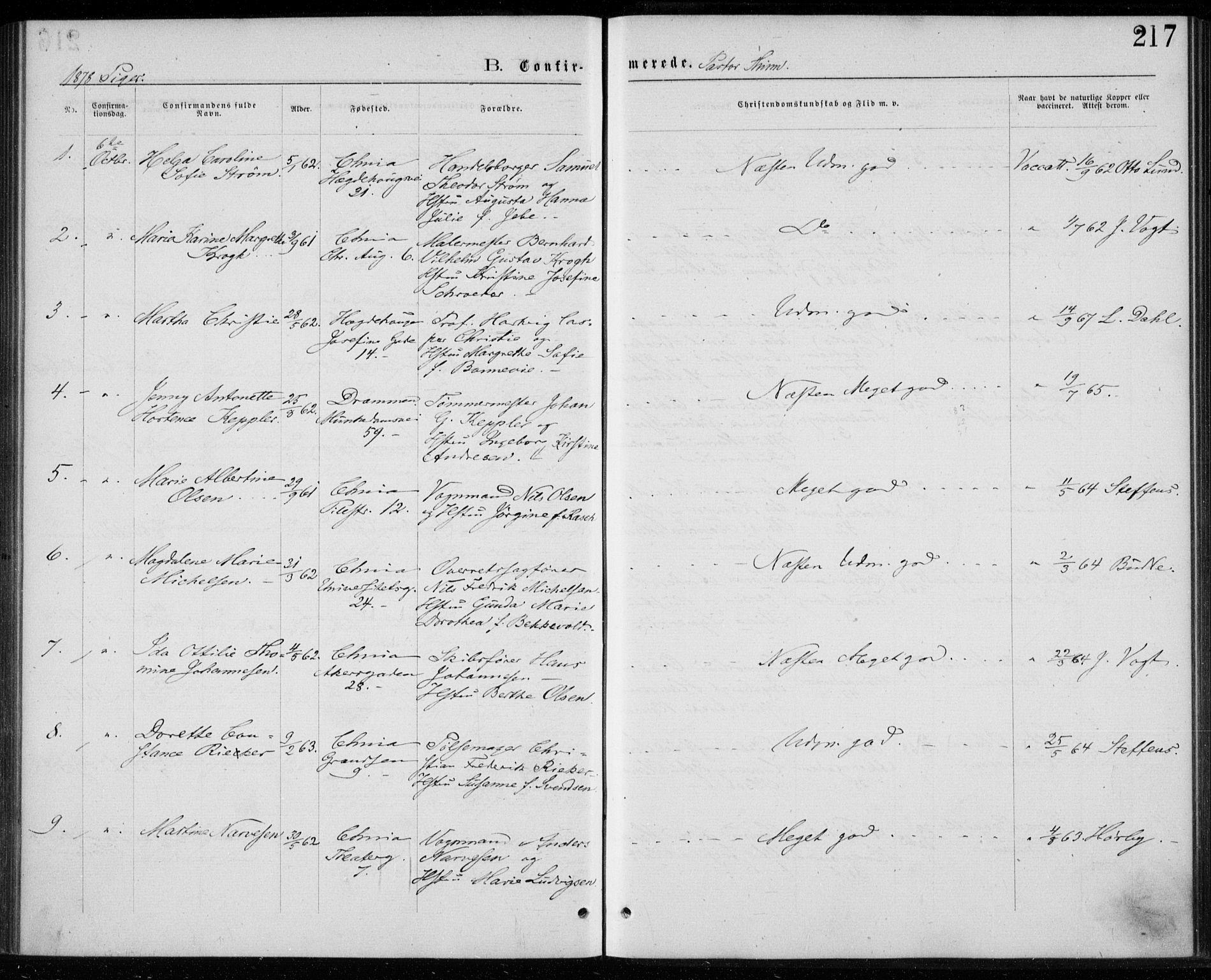 SAO, Trefoldighet prestekontor Kirkebøker, F/Fb/L0002: Ministerialbok nr. II 2, 1871-1880, s. 217