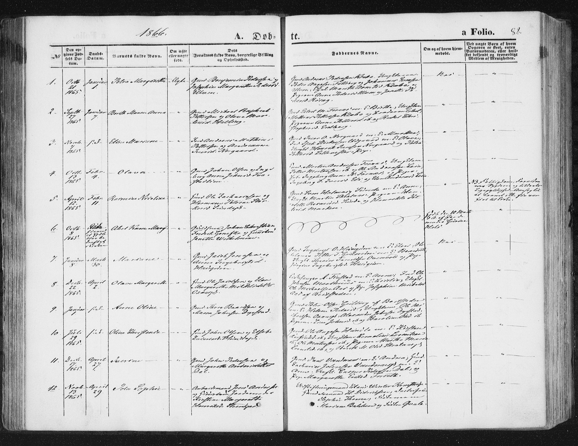 SAT, Ministerialprotokoller, klokkerbøker og fødselsregistre - Nord-Trøndelag, 746/L0447: Ministerialbok nr. 746A06, 1860-1877, s. 82