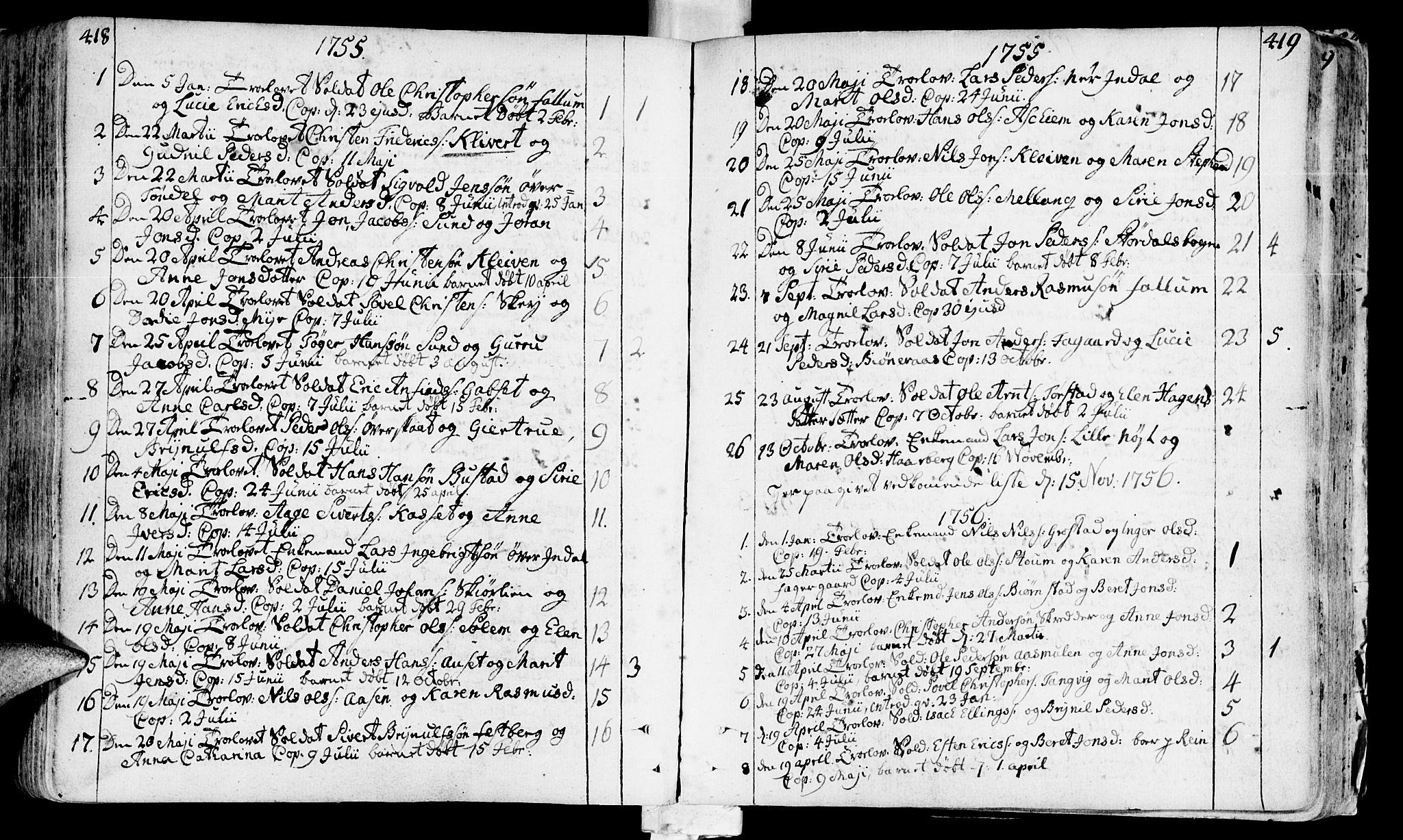 SAT, Ministerialprotokoller, klokkerbøker og fødselsregistre - Sør-Trøndelag, 646/L0605: Ministerialbok nr. 646A03, 1751-1790, s. 418-419