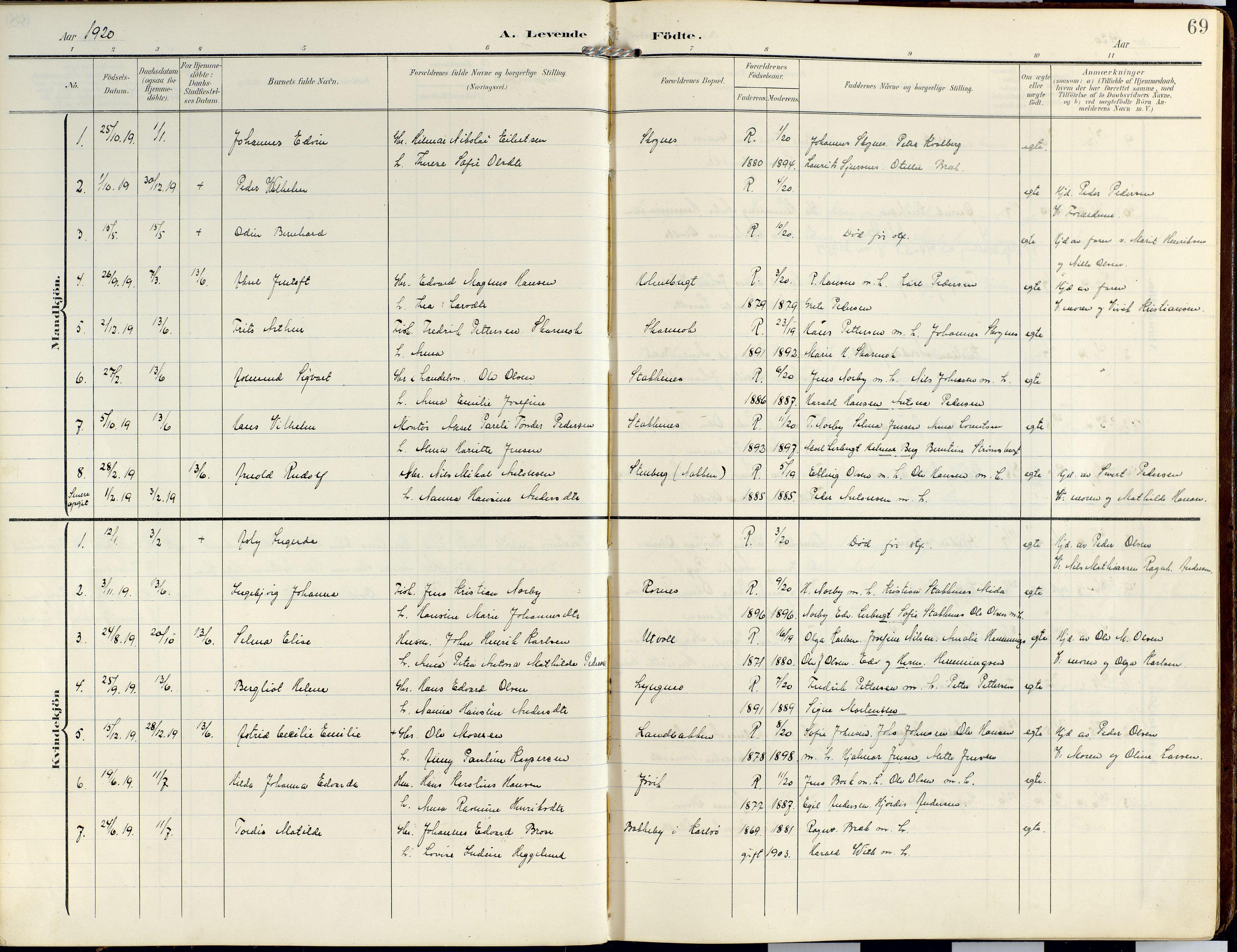 SATØ, Lyngen sokneprestembete, Ministerialbok nr. 14, 1905-1920, s. 69