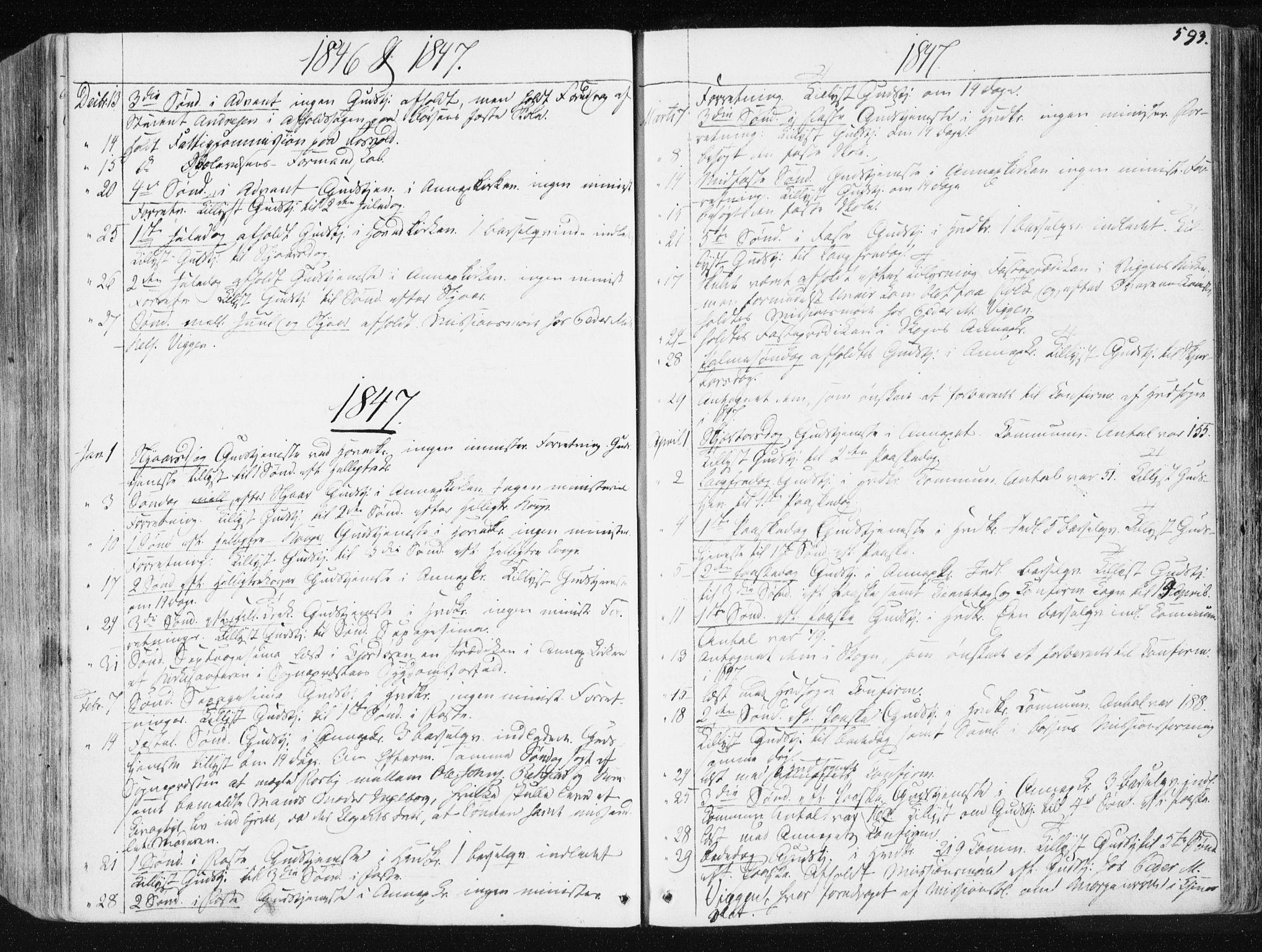 SAT, Ministerialprotokoller, klokkerbøker og fødselsregistre - Sør-Trøndelag, 665/L0771: Ministerialbok nr. 665A06, 1830-1856, s. 593