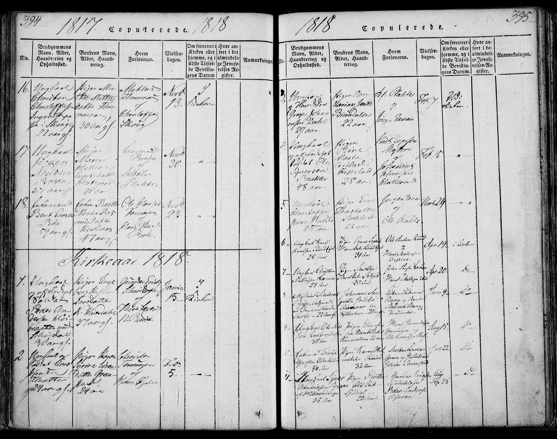 SAKO, Sande Kirkebøker, F/Fa/L0003: Ministerialbok nr. 3, 1814-1847, s. 394-395