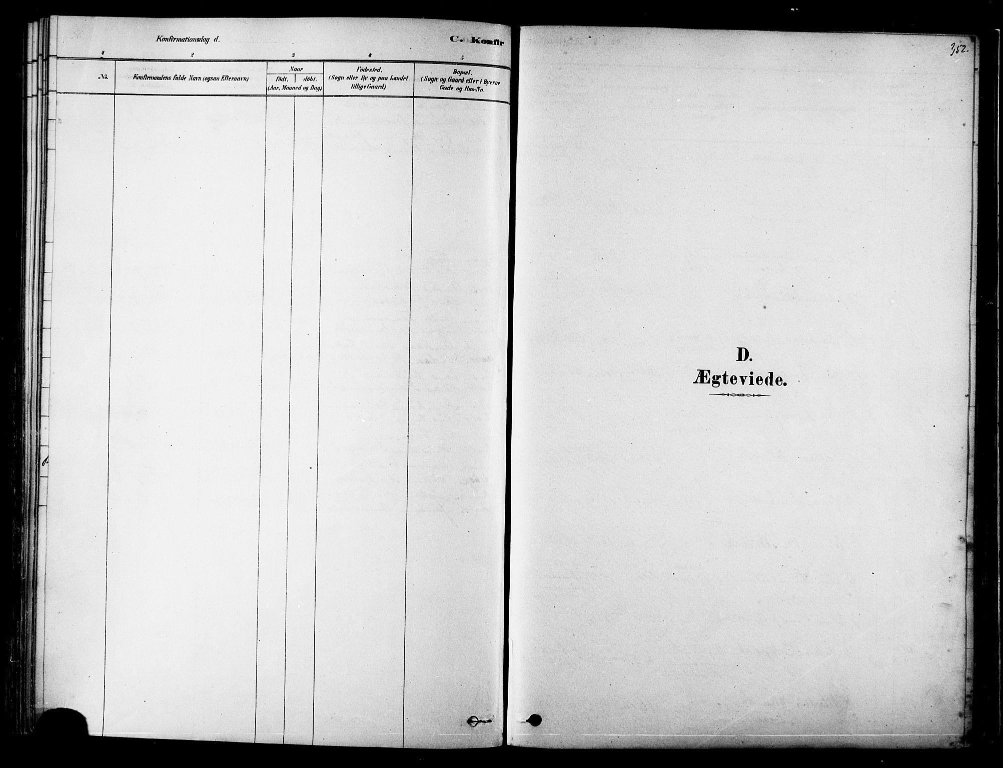 SAT, Ministerialprotokoller, klokkerbøker og fødselsregistre - Nordland, 834/L0507: Ministerialbok nr. 834A05, 1878-1892, s. 352