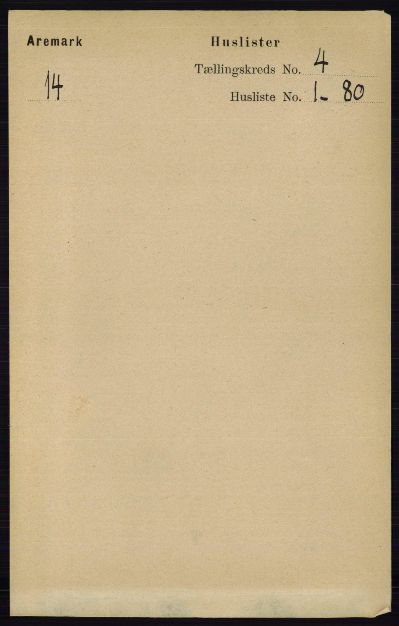 RA, Folketelling 1891 for 0118 Aremark herred, 1891, s. 1829