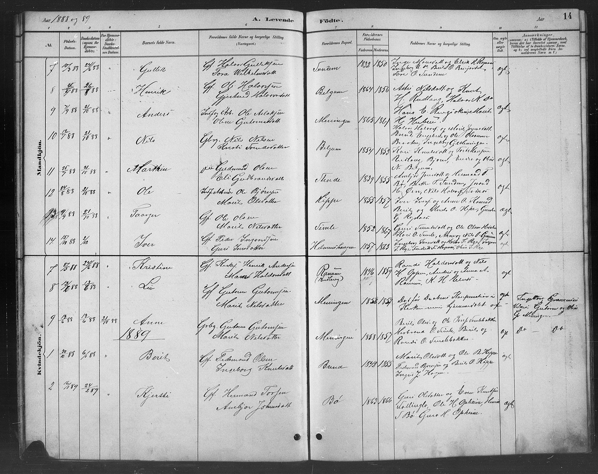 SAH, Nord-Aurdal prestekontor, Klokkerbok nr. 8, 1883-1916, s. 14