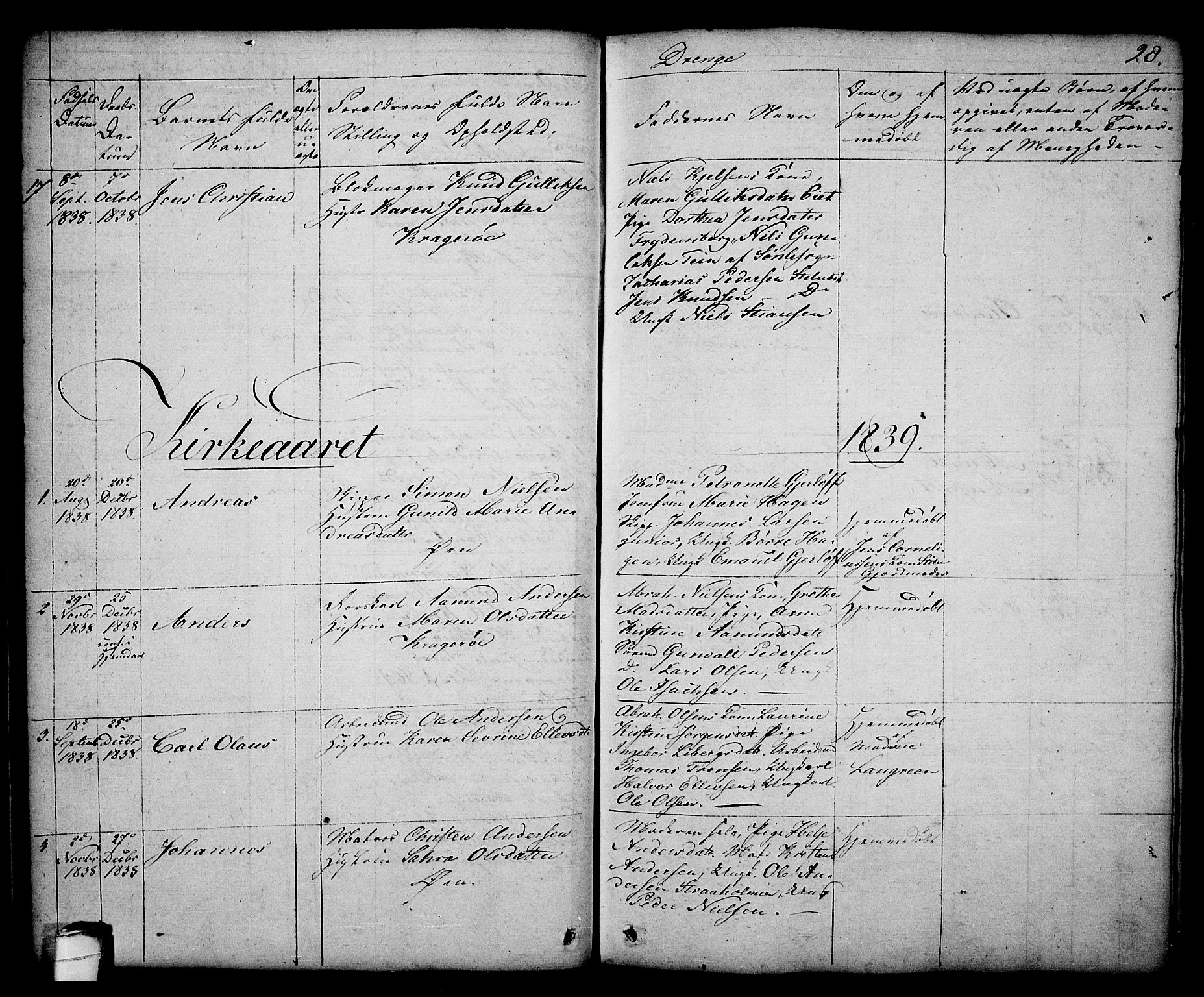 SAKO, Kragerø kirkebøker, G/Ga/L0003: Klokkerbok nr. 3, 1832-1852, s. 28