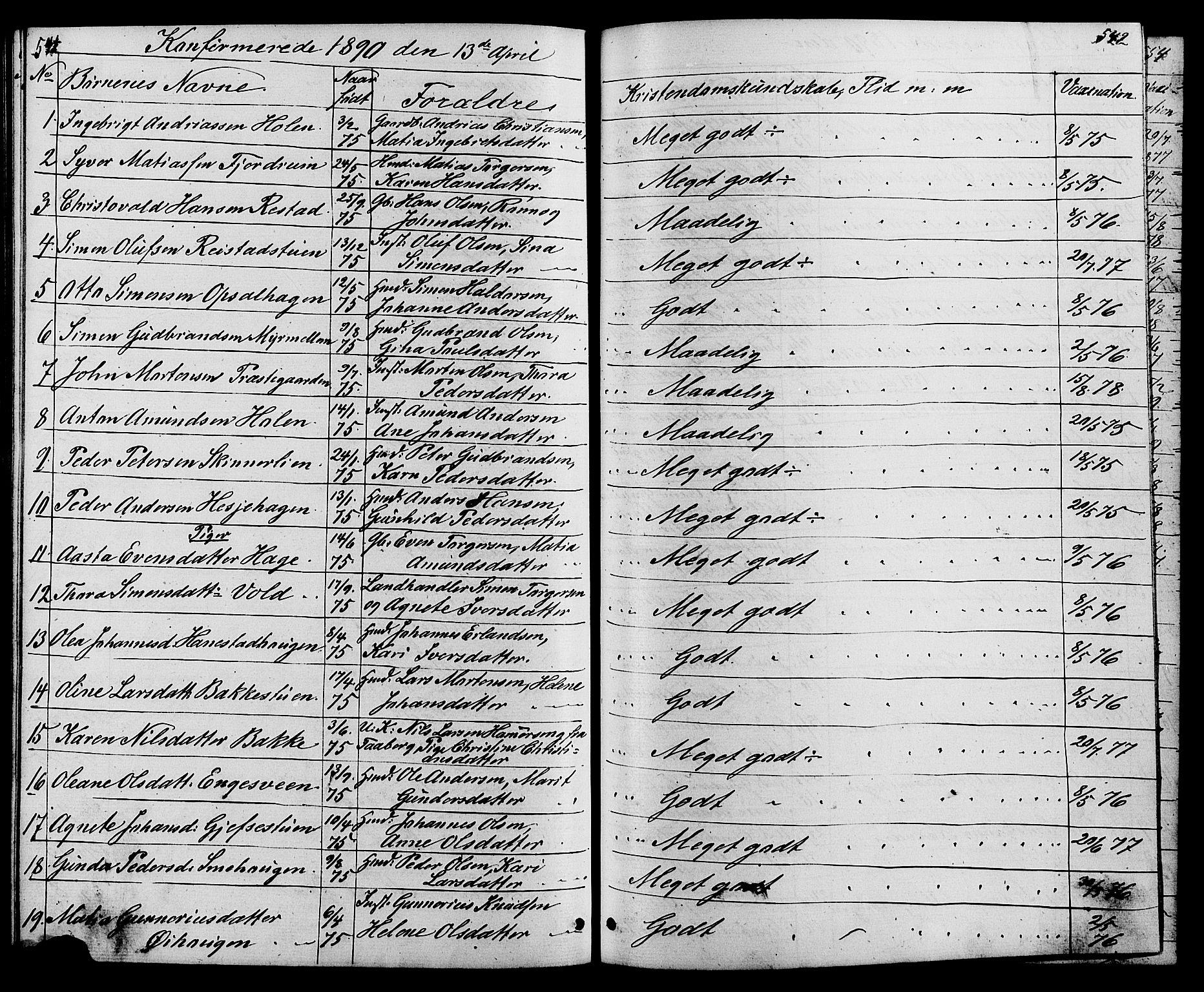 SAH, Østre Gausdal prestekontor, Klokkerbok nr. 1, 1863-1893, s. 541-542