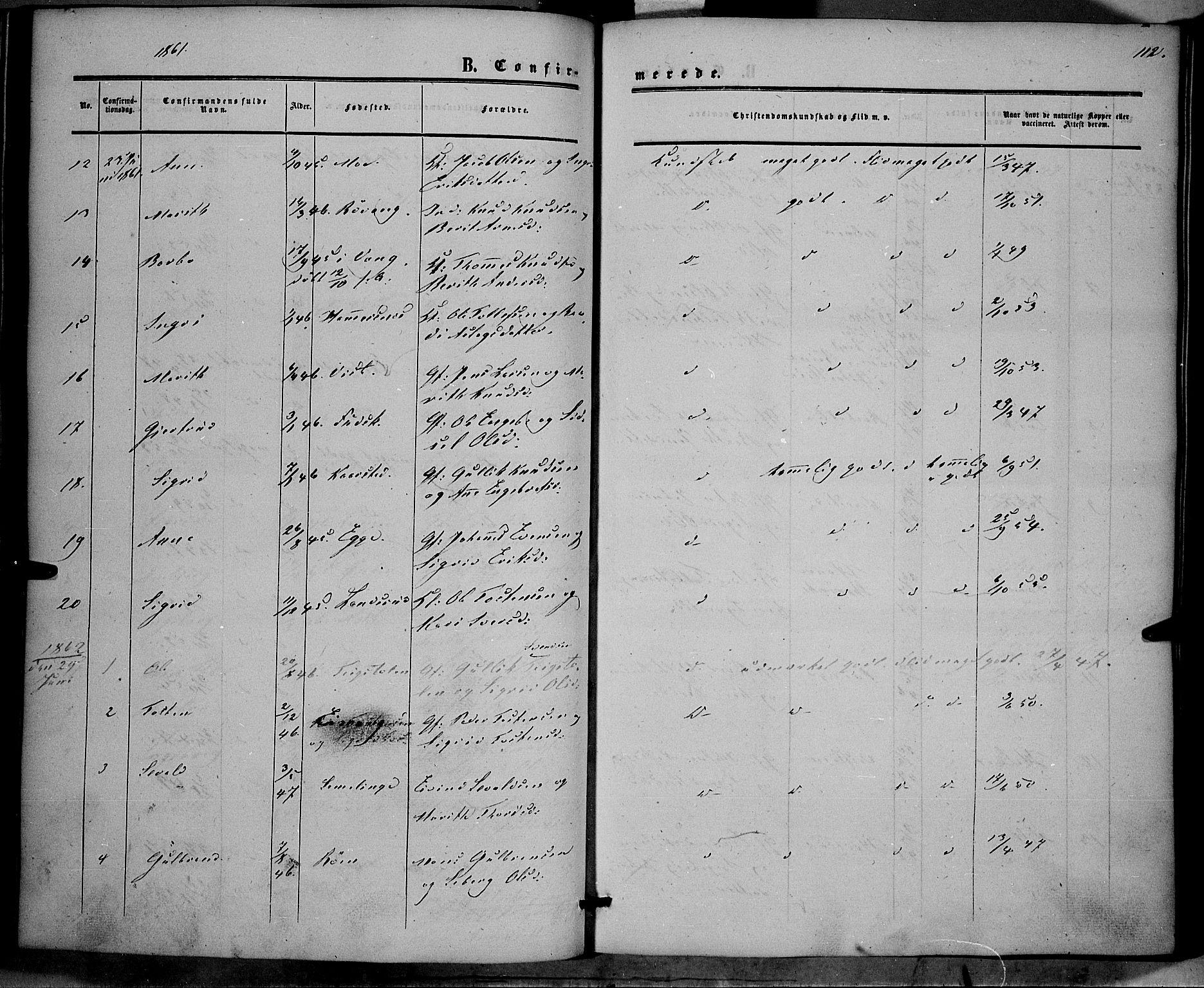 SAH, Vestre Slidre prestekontor, Ministerialbok nr. 2, 1856-1864, s. 112