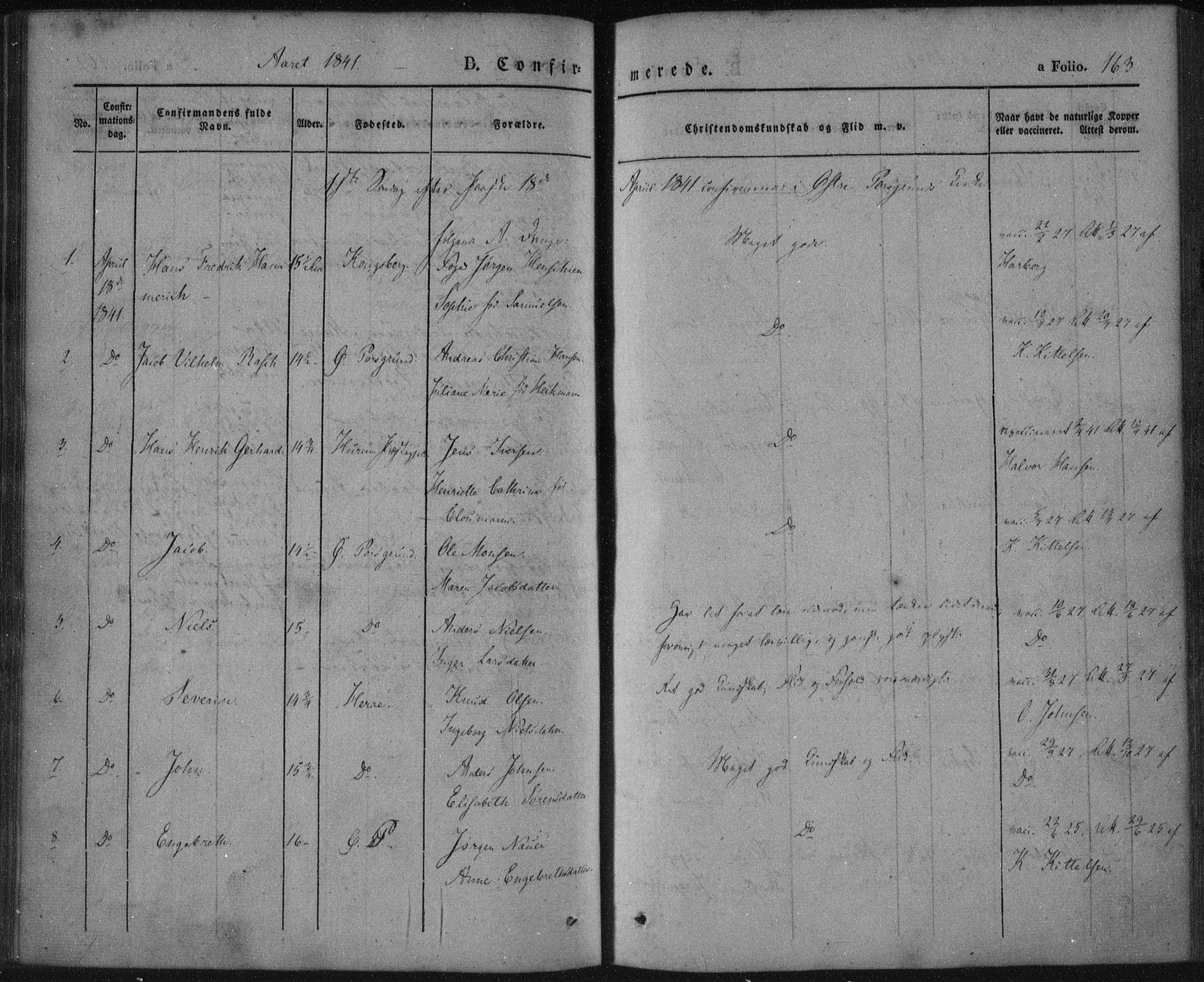 SAKO, Porsgrunn kirkebøker , F/Fa/L0006: Ministerialbok nr. 6, 1841-1857, s. 163