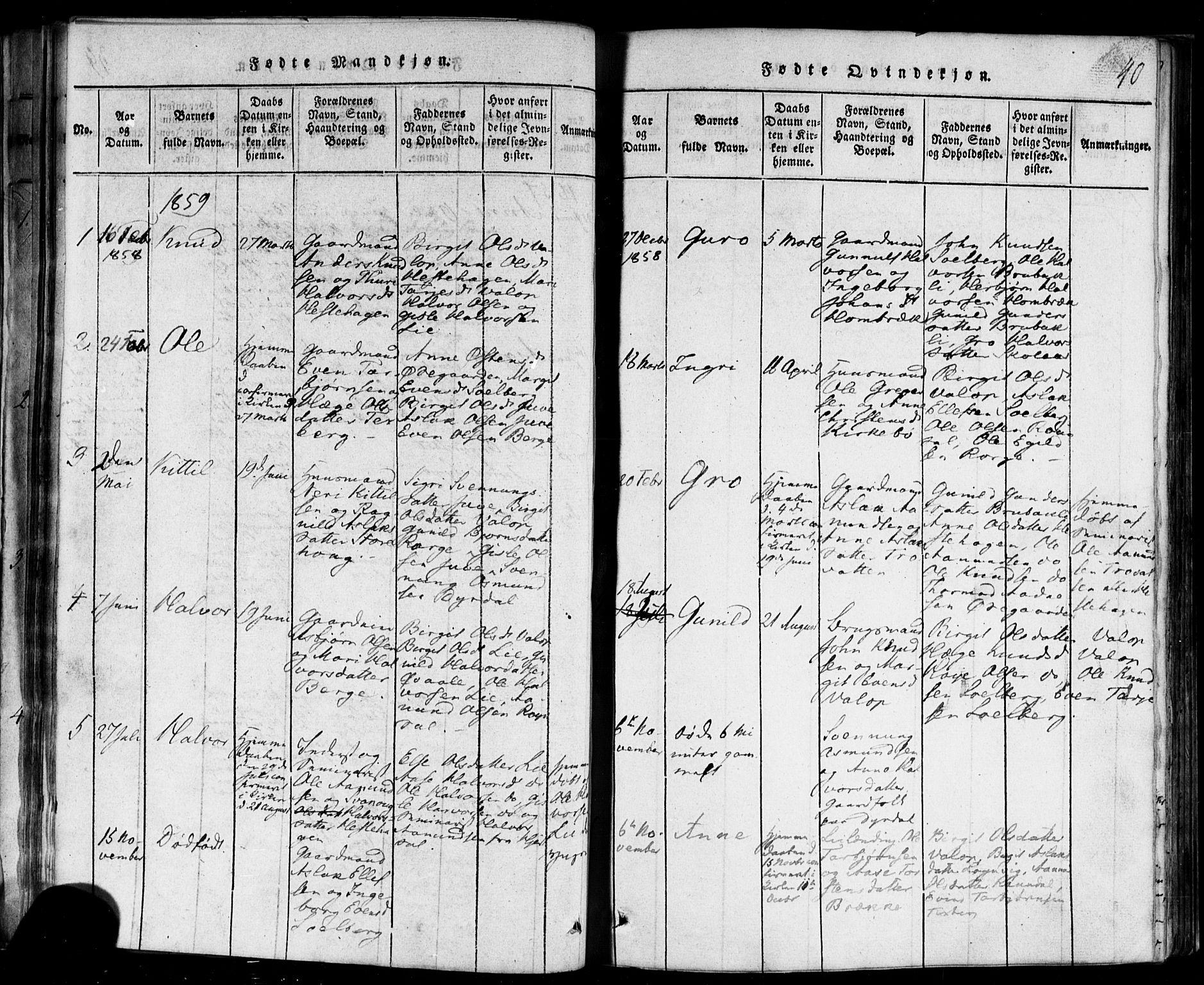 SAKO, Rauland kirkebøker, F/Fa/L0002: Ministerialbok nr. 2, 1815-1860, s. 40