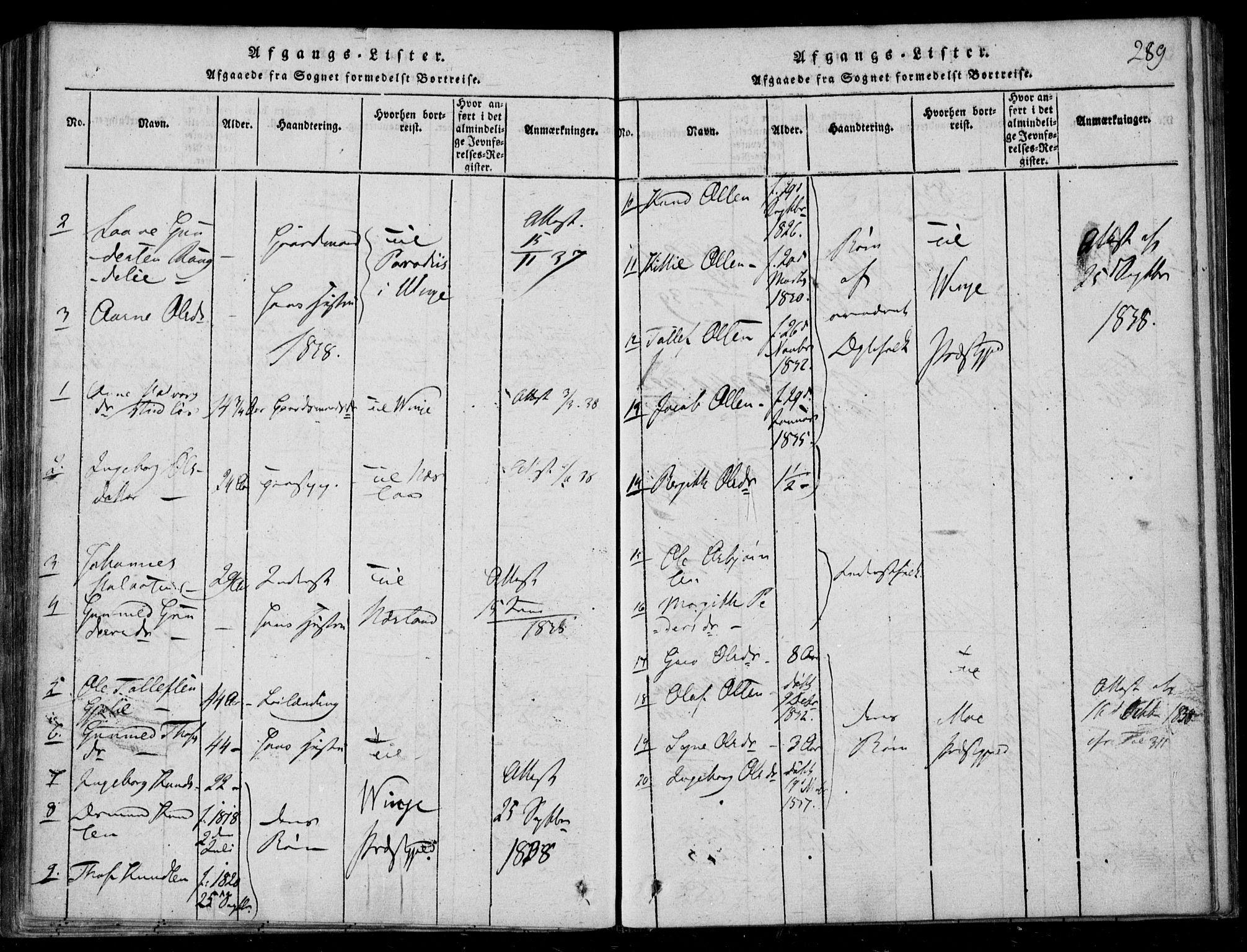 SAKO, Lårdal kirkebøker, F/Fb/L0001: Ministerialbok nr. II 1, 1815-1860, s. 289