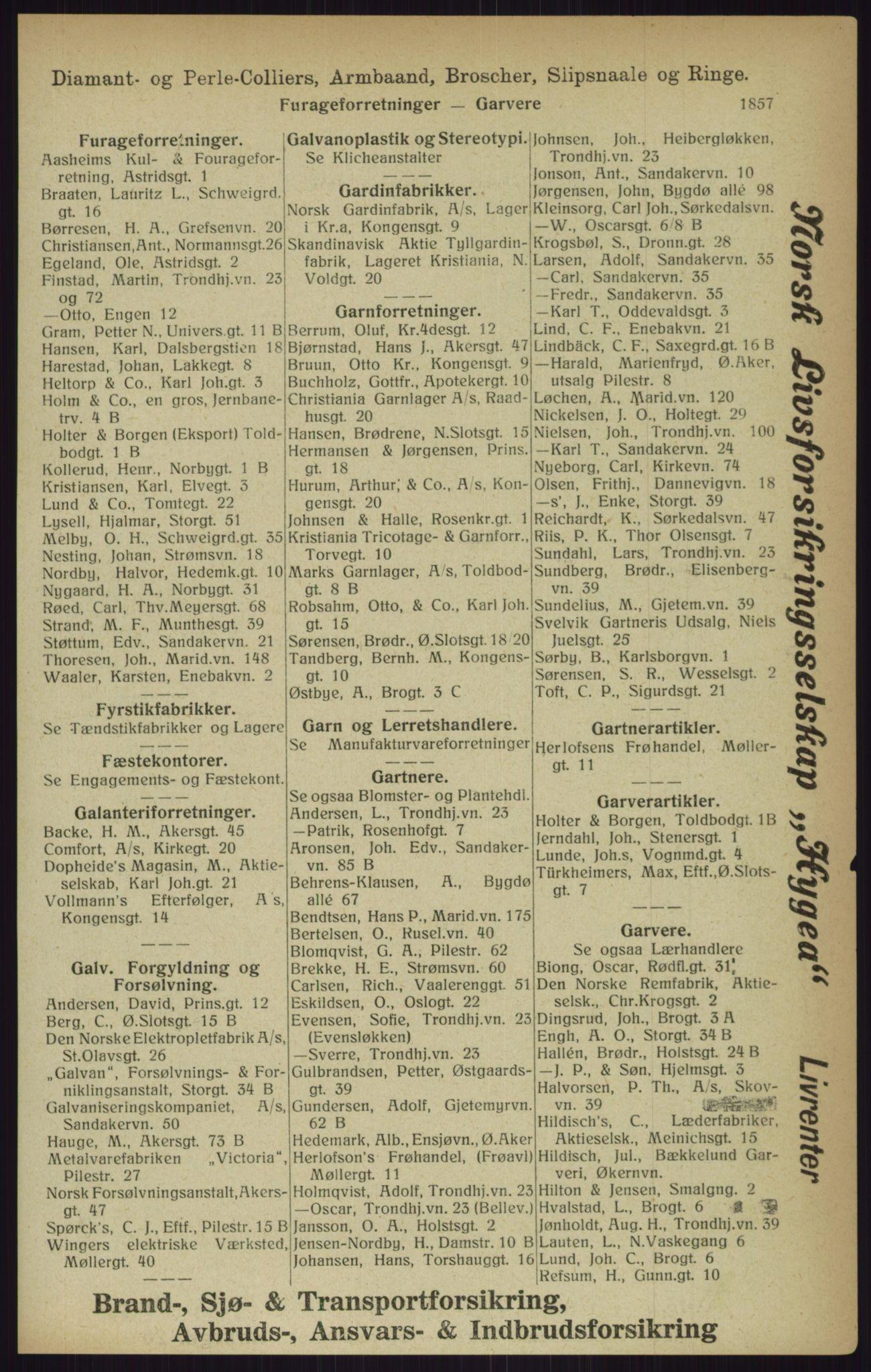 RA, Kristiania adressebok (publikasjon)*, 1916, s. 1857
