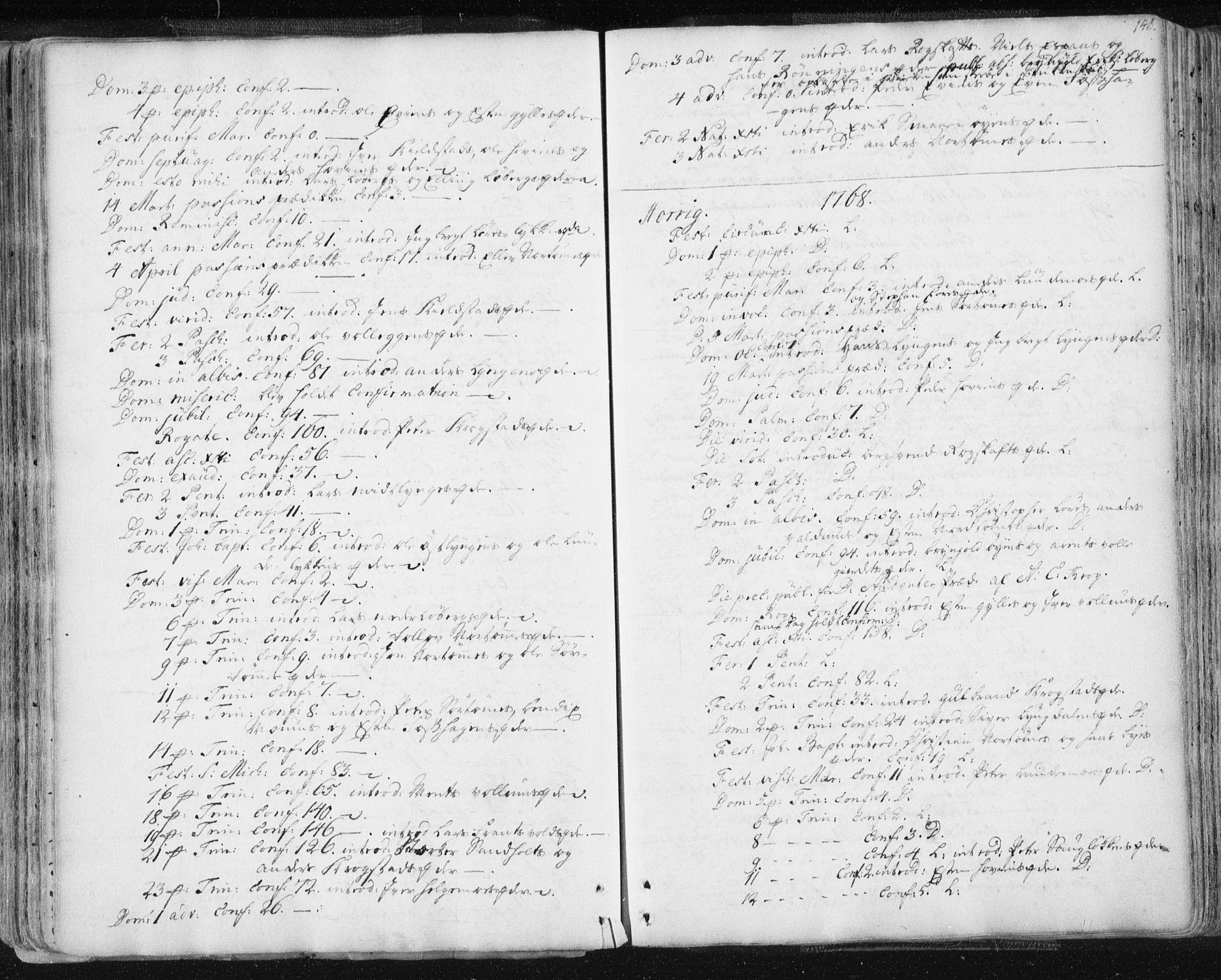 SAT, Ministerialprotokoller, klokkerbøker og fødselsregistre - Sør-Trøndelag, 687/L0991: Ministerialbok nr. 687A02, 1747-1790, s. 148