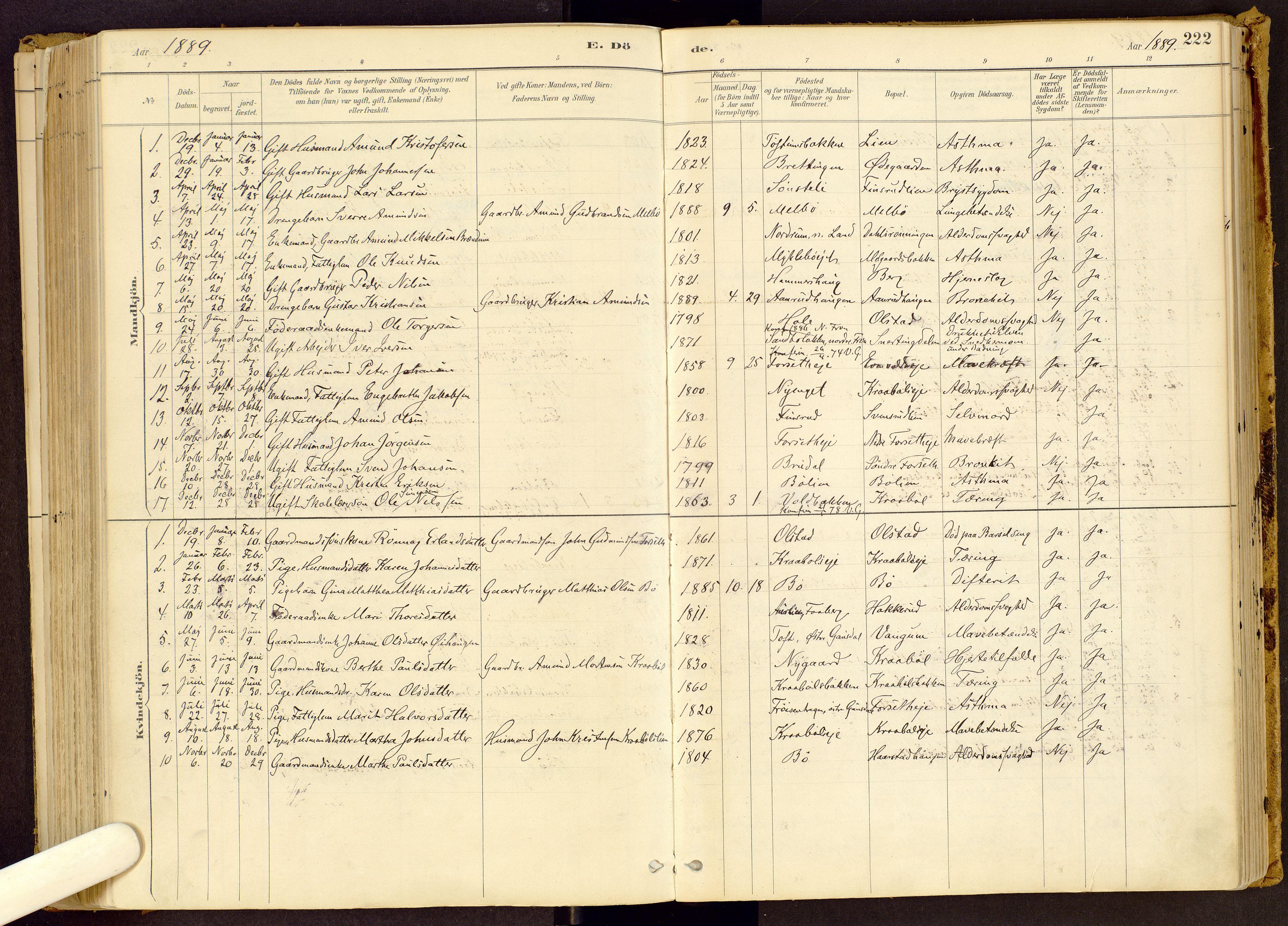 SAH, Vestre Gausdal prestekontor, Ministerialbok nr. 1, 1887-1914, s. 222