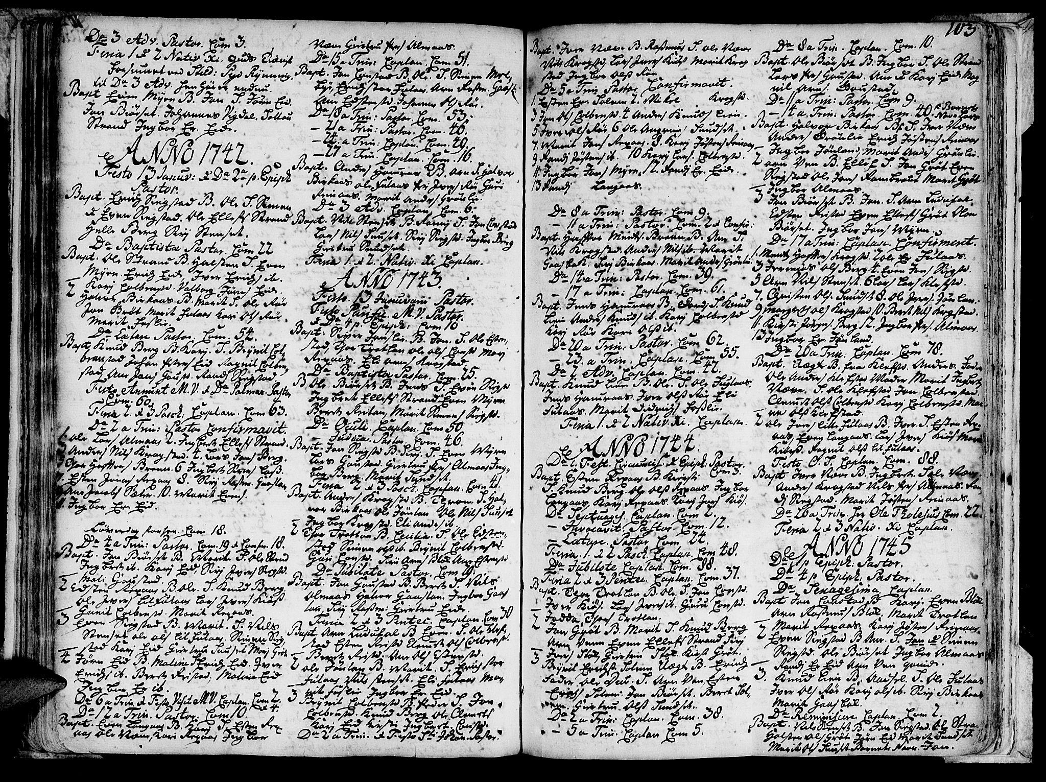 SAT, Ministerialprotokoller, klokkerbøker og fødselsregistre - Sør-Trøndelag, 691/L1060: Ministerialbok nr. 691A01 /4, 1740-1767, s. 103