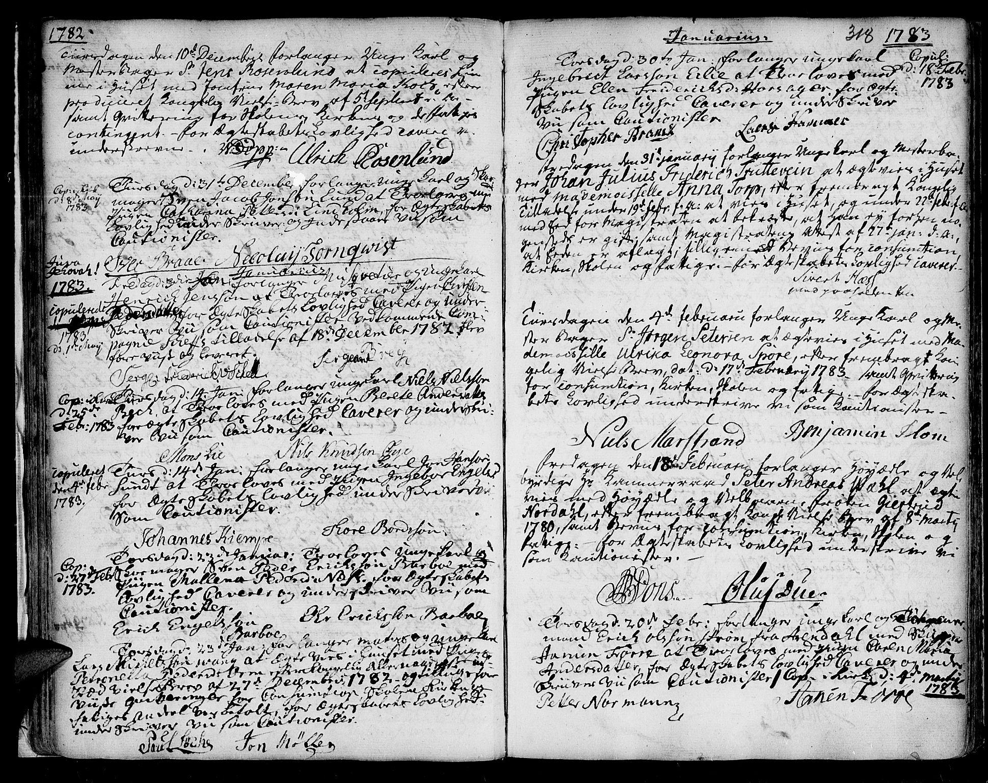 SAT, Ministerialprotokoller, klokkerbøker og fødselsregistre - Sør-Trøndelag, 601/L0038: Ministerialbok nr. 601A06, 1766-1877, s. 318