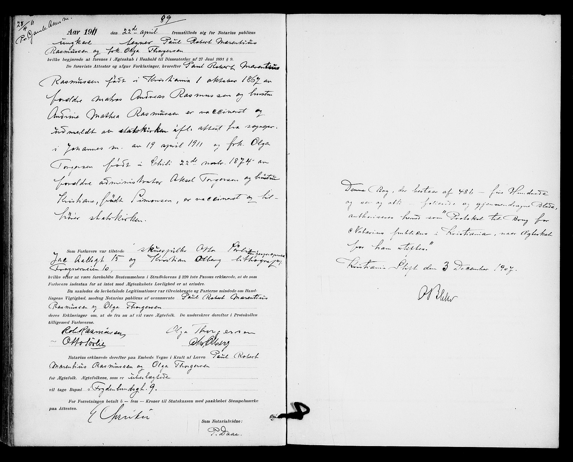 SAO, Oslo byfogd avd. I, L/Lb/Lbb/L0007: Notarialprotokoll, rekke II: Vigsler, 1907-1911, s. 486b-487a
