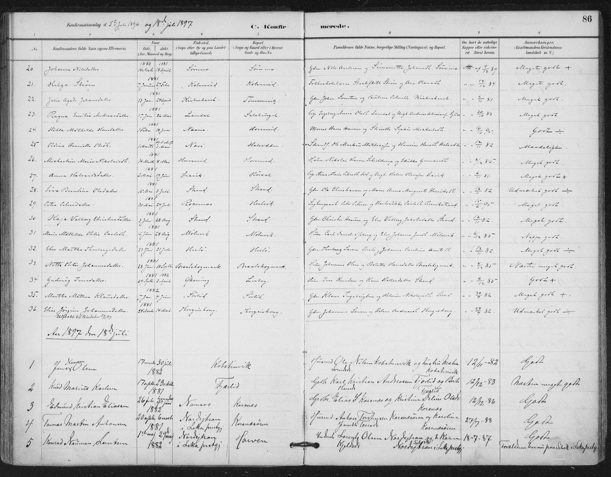 SAT, Ministerialprotokoller, klokkerbøker og fødselsregistre - Nord-Trøndelag, 780/L0644: Ministerialbok nr. 780A08, 1886-1903, s. 86