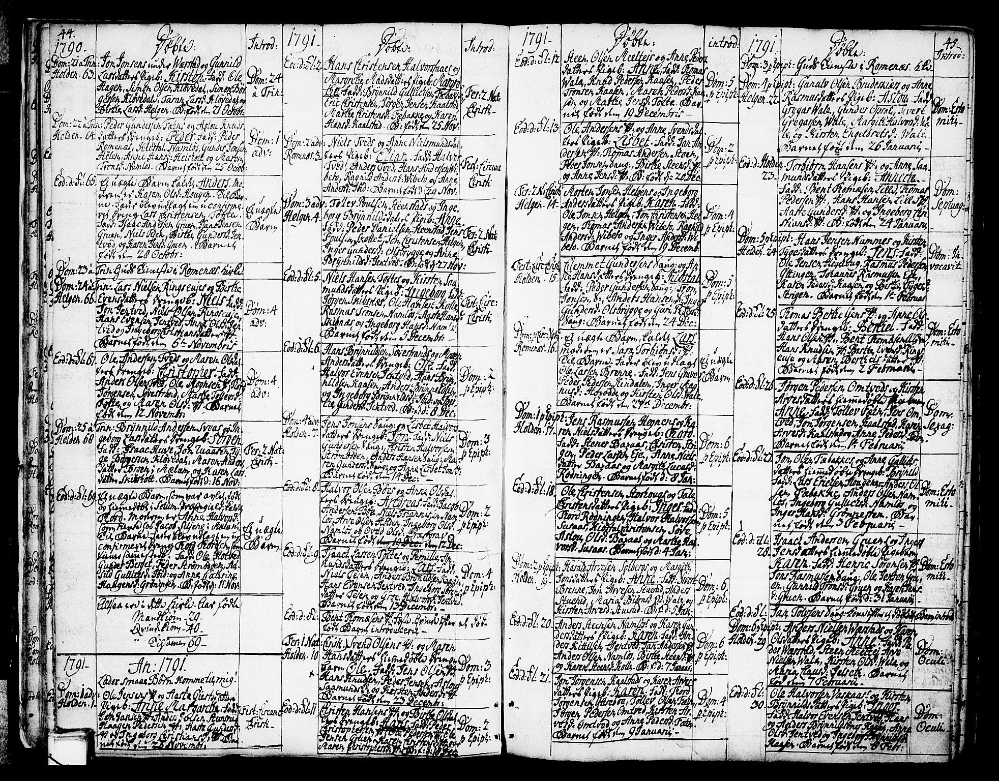 SAKO, Holla kirkebøker, F/Fa/L0002: Ministerialbok nr. 2, 1779-1814, s. 44-45