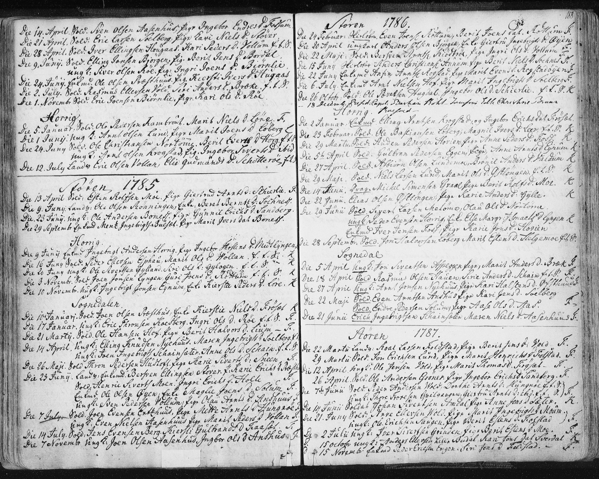 SAT, Ministerialprotokoller, klokkerbøker og fødselsregistre - Sør-Trøndelag, 687/L0991: Ministerialbok nr. 687A02, 1747-1790, s. 188