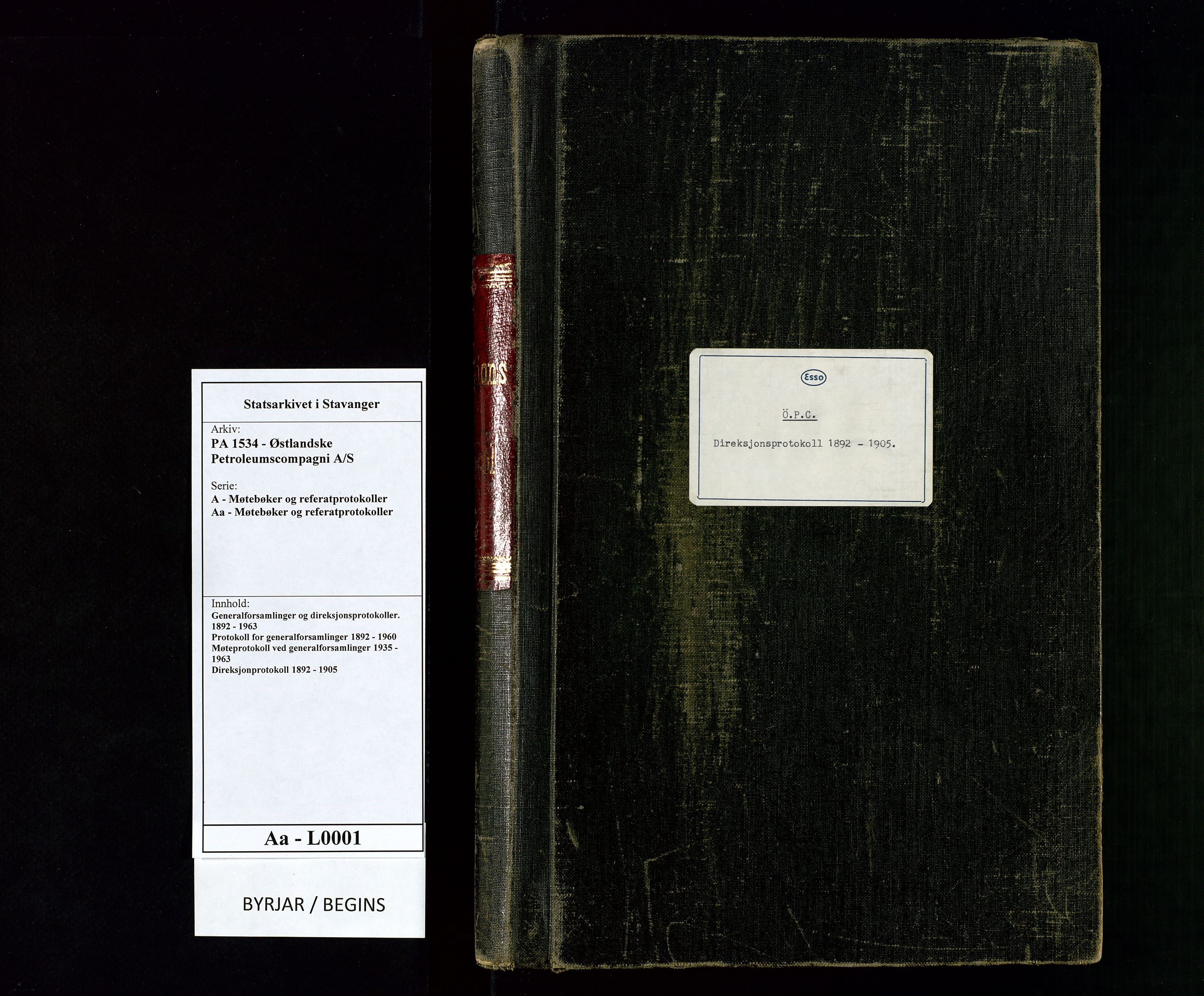 SAST, PA 1534 - Østlandske Petroleumscompagni A/S, A/Aa/L0001: Generalforsamlinger og direksjonsprotokoller., 1892-1905, s. upaginert