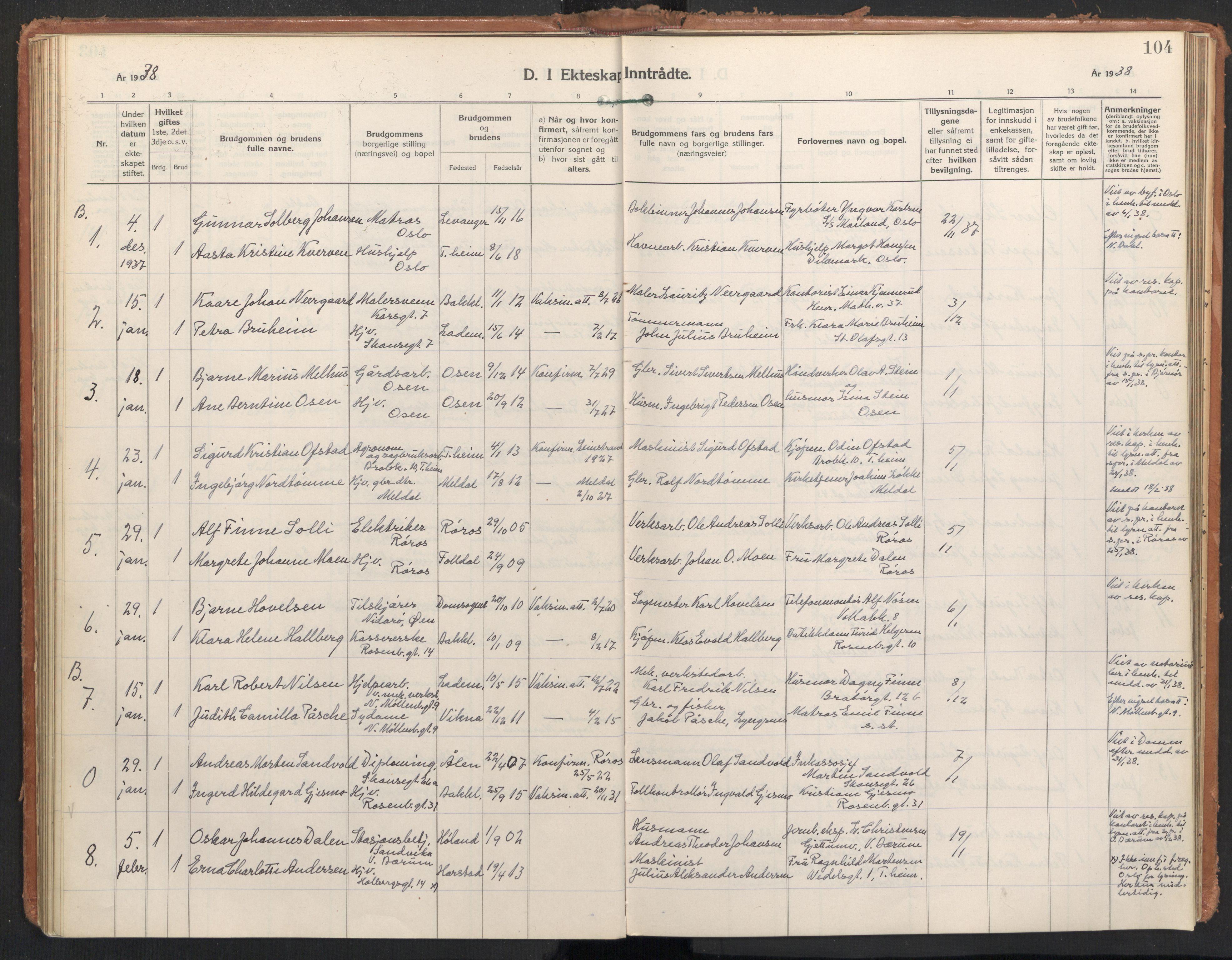 SAT, Ministerialprotokoller, klokkerbøker og fødselsregistre - Sør-Trøndelag, 604/L0209: Ministerialbok nr. 604A29, 1931-1945, s. 104