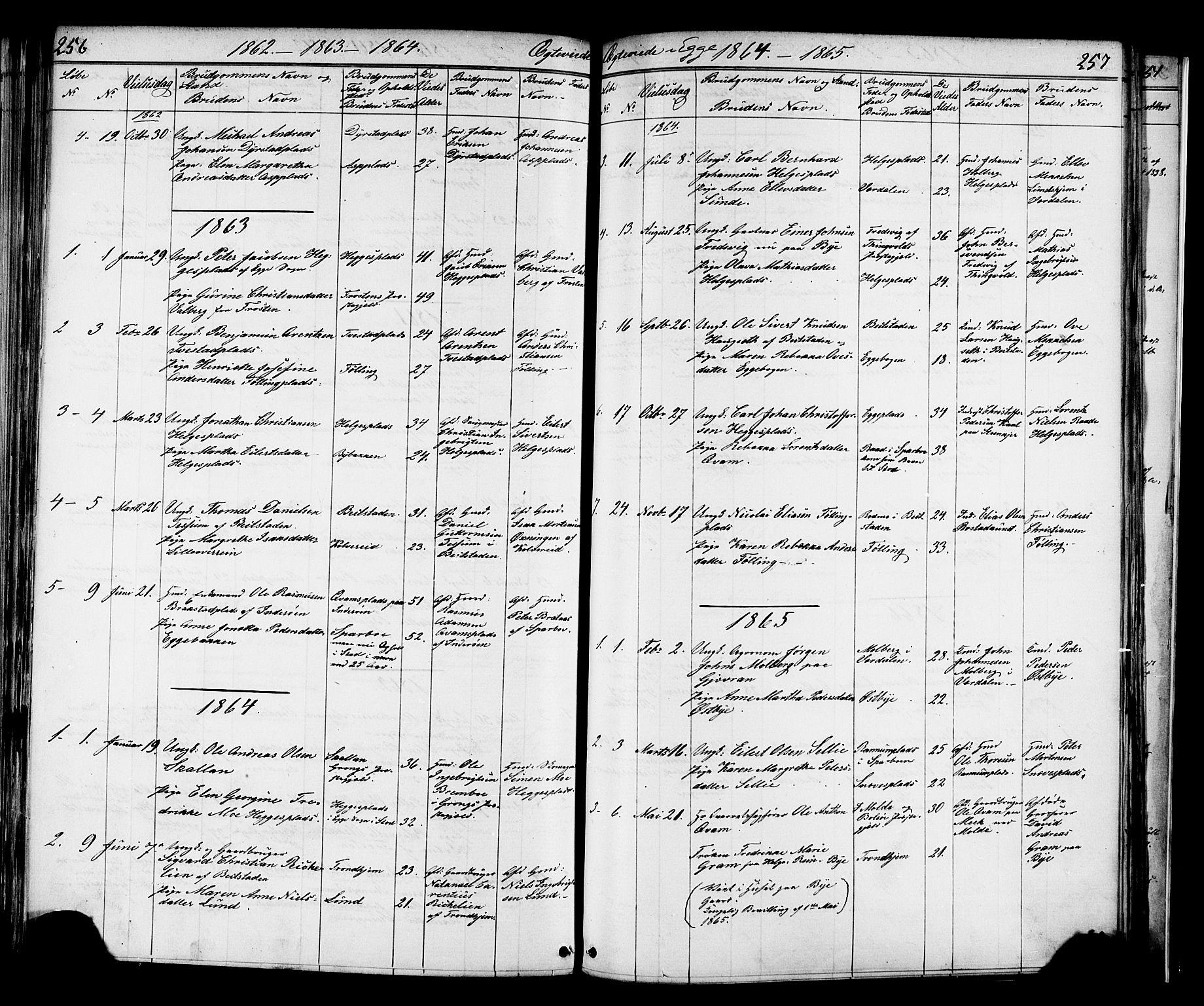 SAT, Ministerialprotokoller, klokkerbøker og fødselsregistre - Nord-Trøndelag, 739/L0367: Ministerialbok nr. 739A01 /3, 1838-1868, s. 256-257