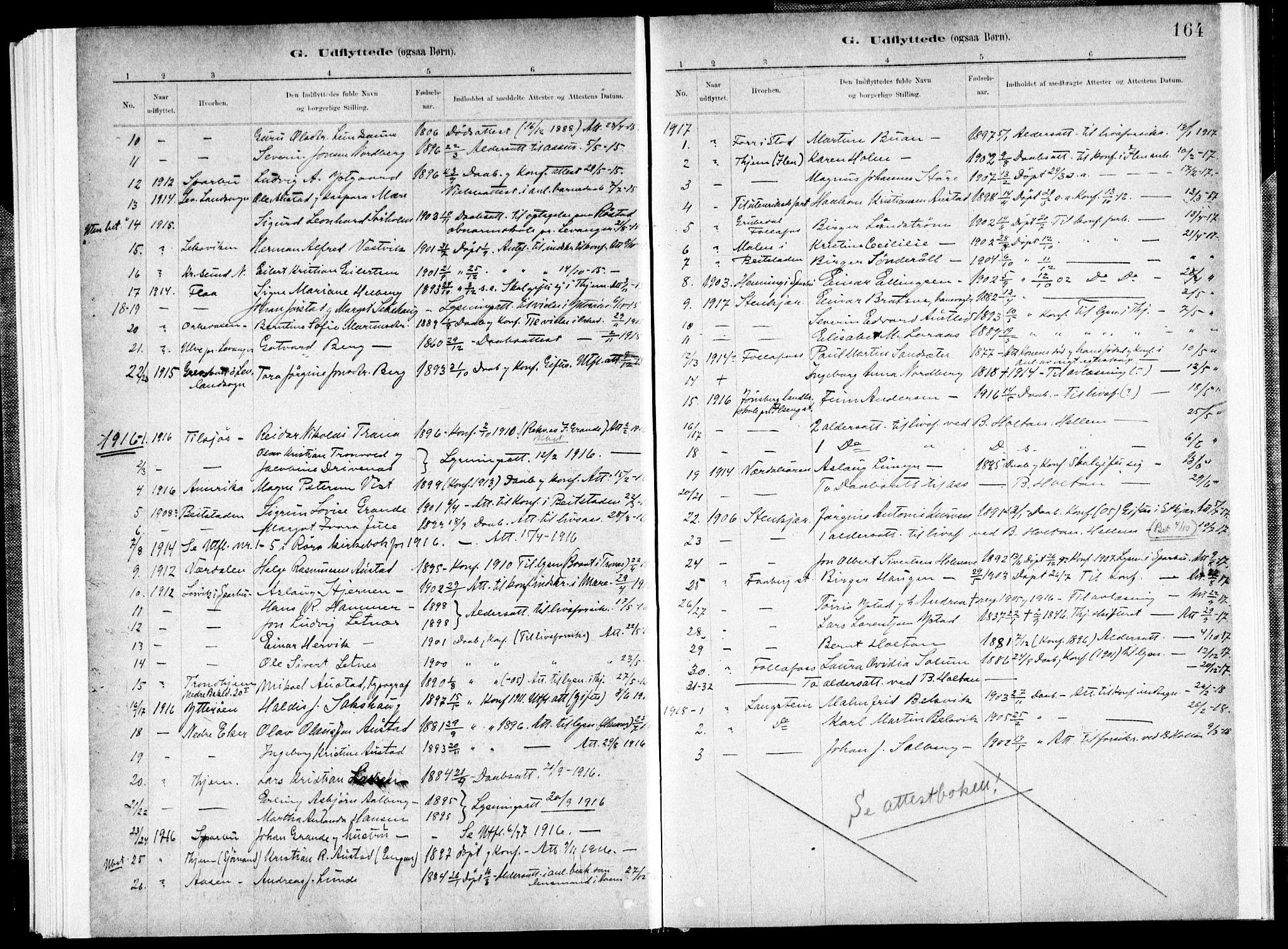 SAT, Ministerialprotokoller, klokkerbøker og fødselsregistre - Nord-Trøndelag, 731/L0309: Ministerialbok nr. 731A01, 1879-1918, s. 164
