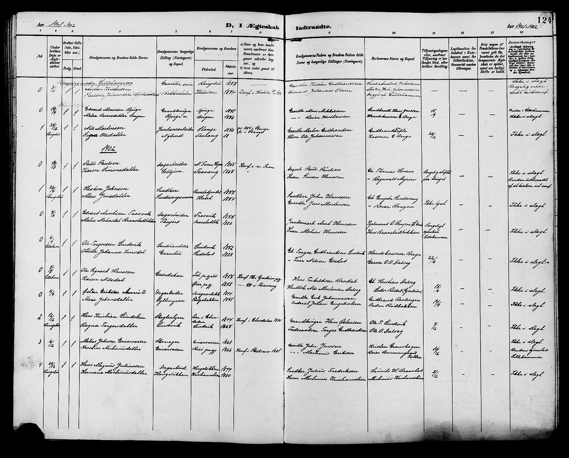 SAH, Ringebu prestekontor, Klokkerbok nr. 7, 1890-1910, s. 124
