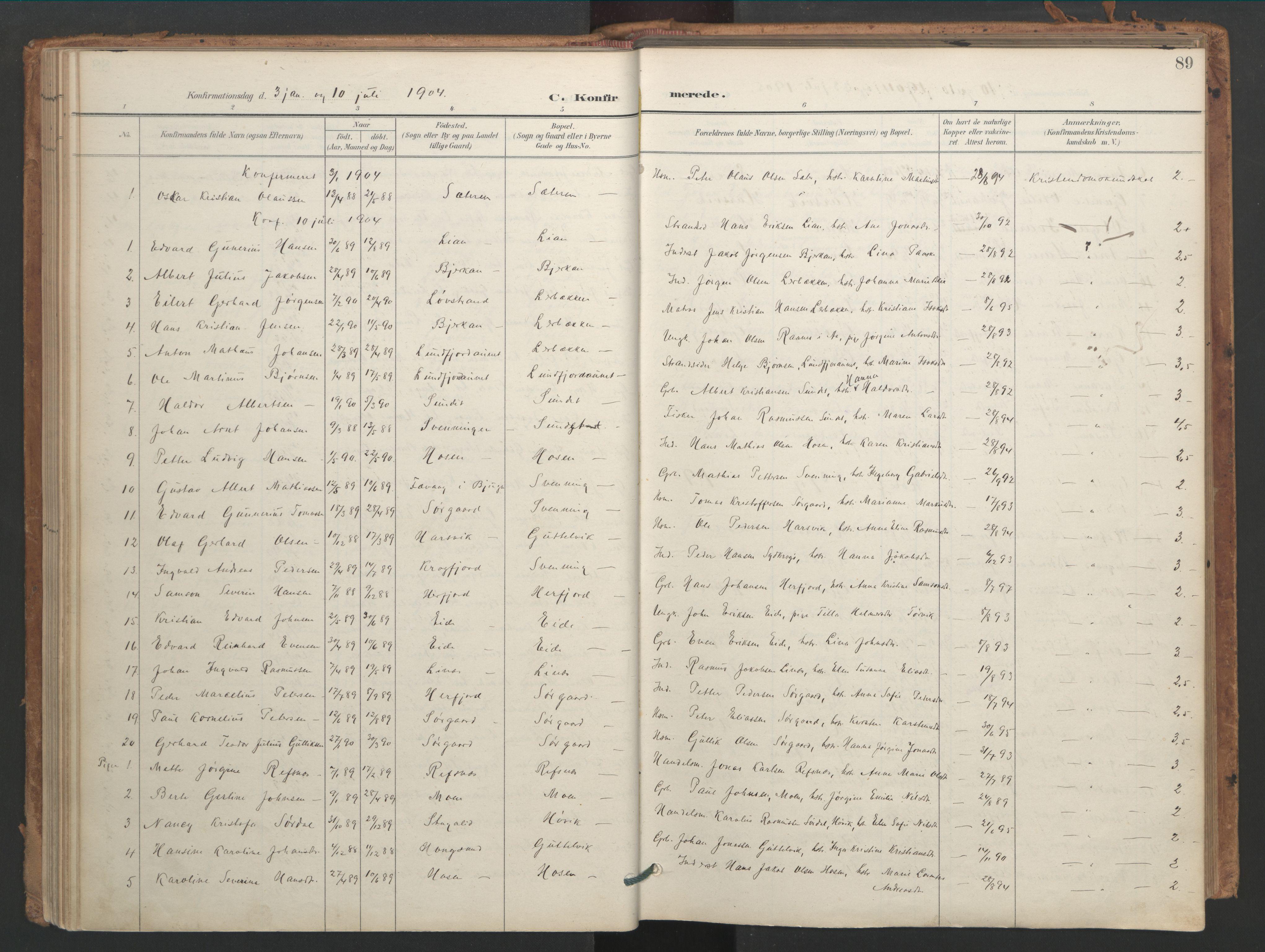 SAT, Ministerialprotokoller, klokkerbøker og fødselsregistre - Sør-Trøndelag, 656/L0693: Ministerialbok nr. 656A02, 1894-1913, s. 89