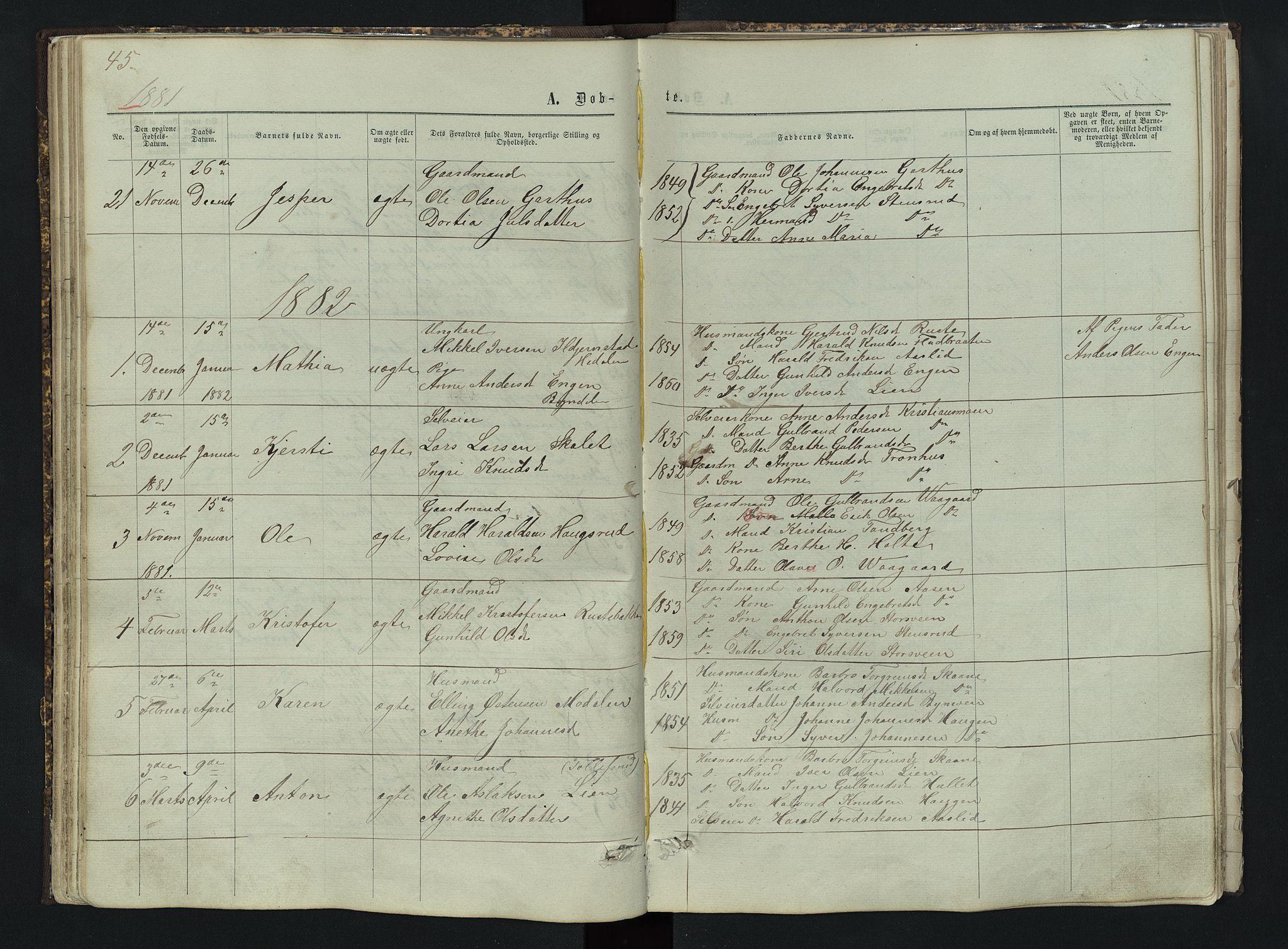 SAH, Sør-Aurdal prestekontor, Klokkerbok nr. 3, 1862-1893, s. 45