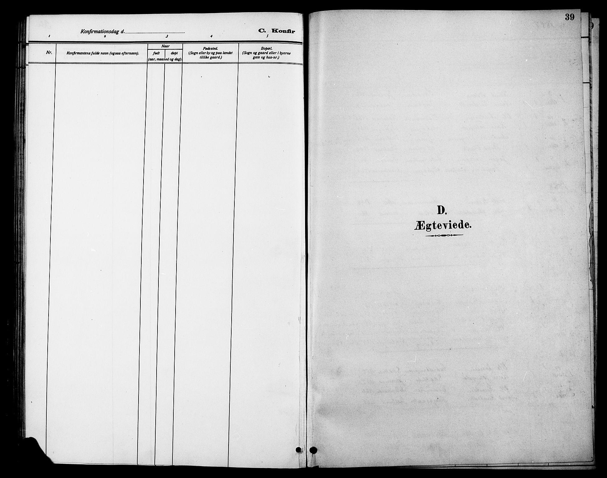 SAH, Øystre Slidre prestekontor, Klokkerbok nr. 6, 1887-1916, s. 39