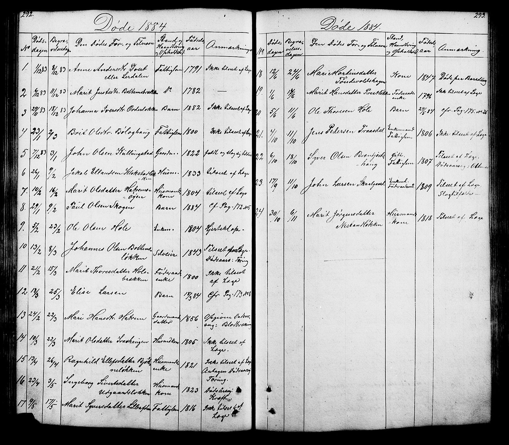 SAH, Lesja prestekontor, Klokkerbok nr. 5, 1850-1894, s. 292-293