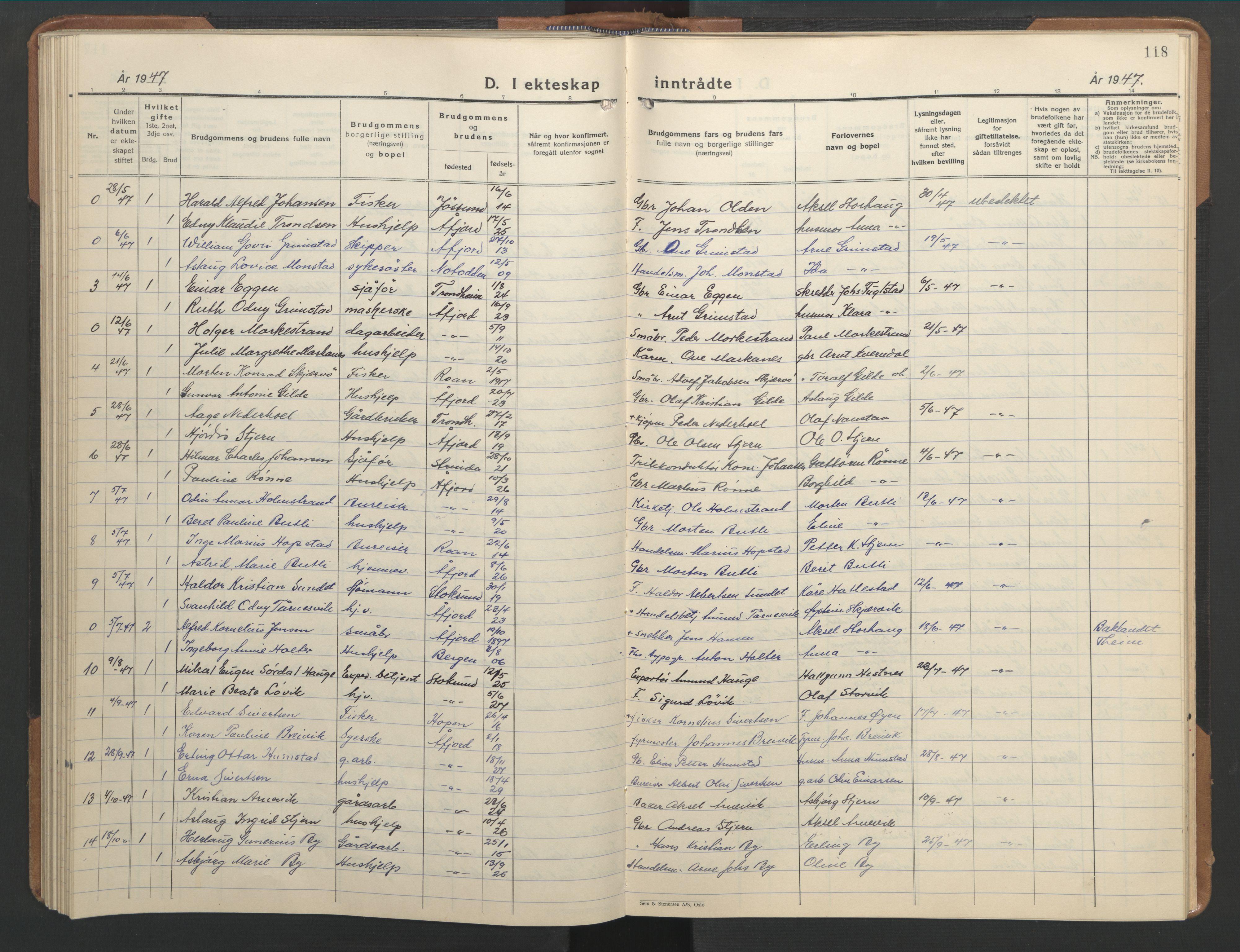SAT, Ministerialprotokoller, klokkerbøker og fødselsregistre - Sør-Trøndelag, 655/L0690: Klokkerbok nr. 655C06, 1937-1950, s. 118