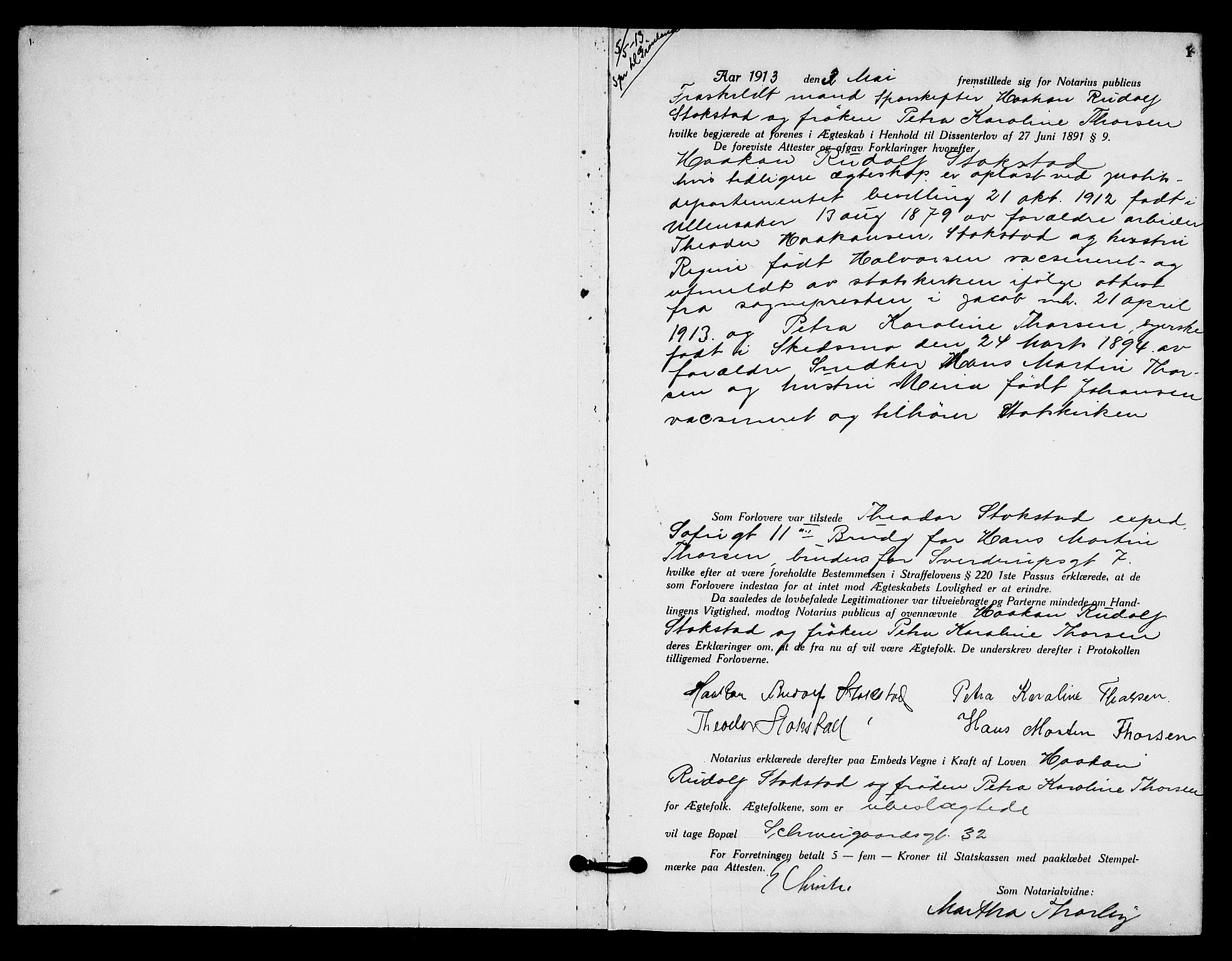 SAO, Oslo byfogd avd. I, L/Lb/Lbb/L0009: Notarialprotokoll, rekke II: Vigsler, 1913-1914, s. 1a