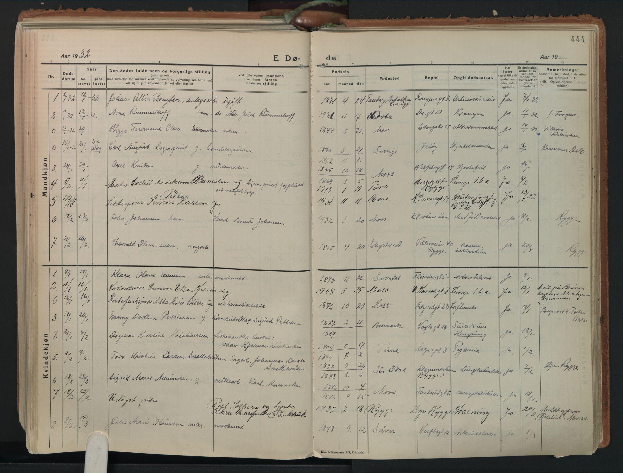 SAO, Moss prestekontor Kirkebøker, F/Fb/Fab/L0006: Ministerialbok nr. II 6, 1924-1932, s. 444