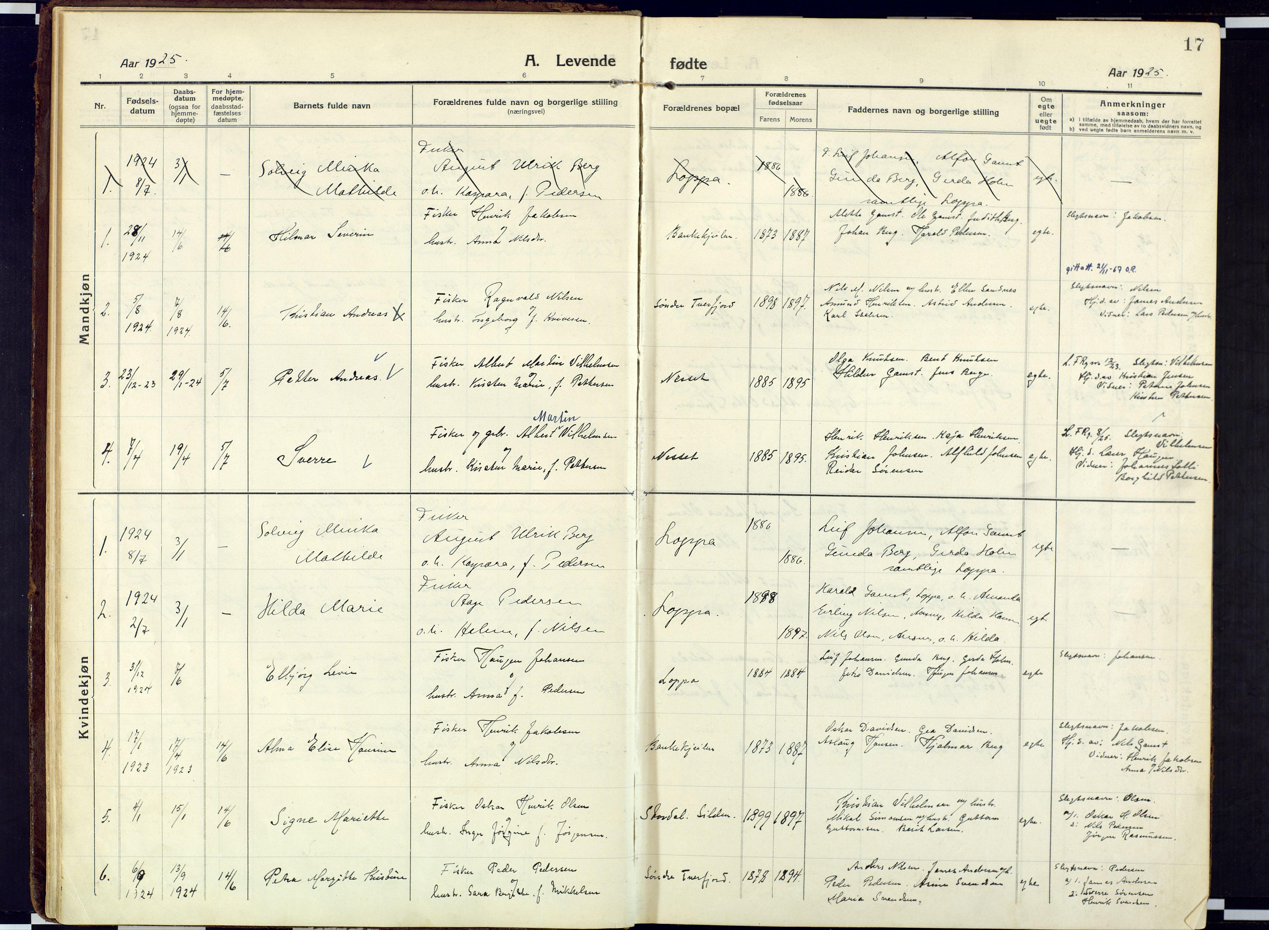 SATØ, Loppa sokneprestkontor, H/Ha/L0013kirke: Ministerialbok nr. 13, 1920-1932, s. 17