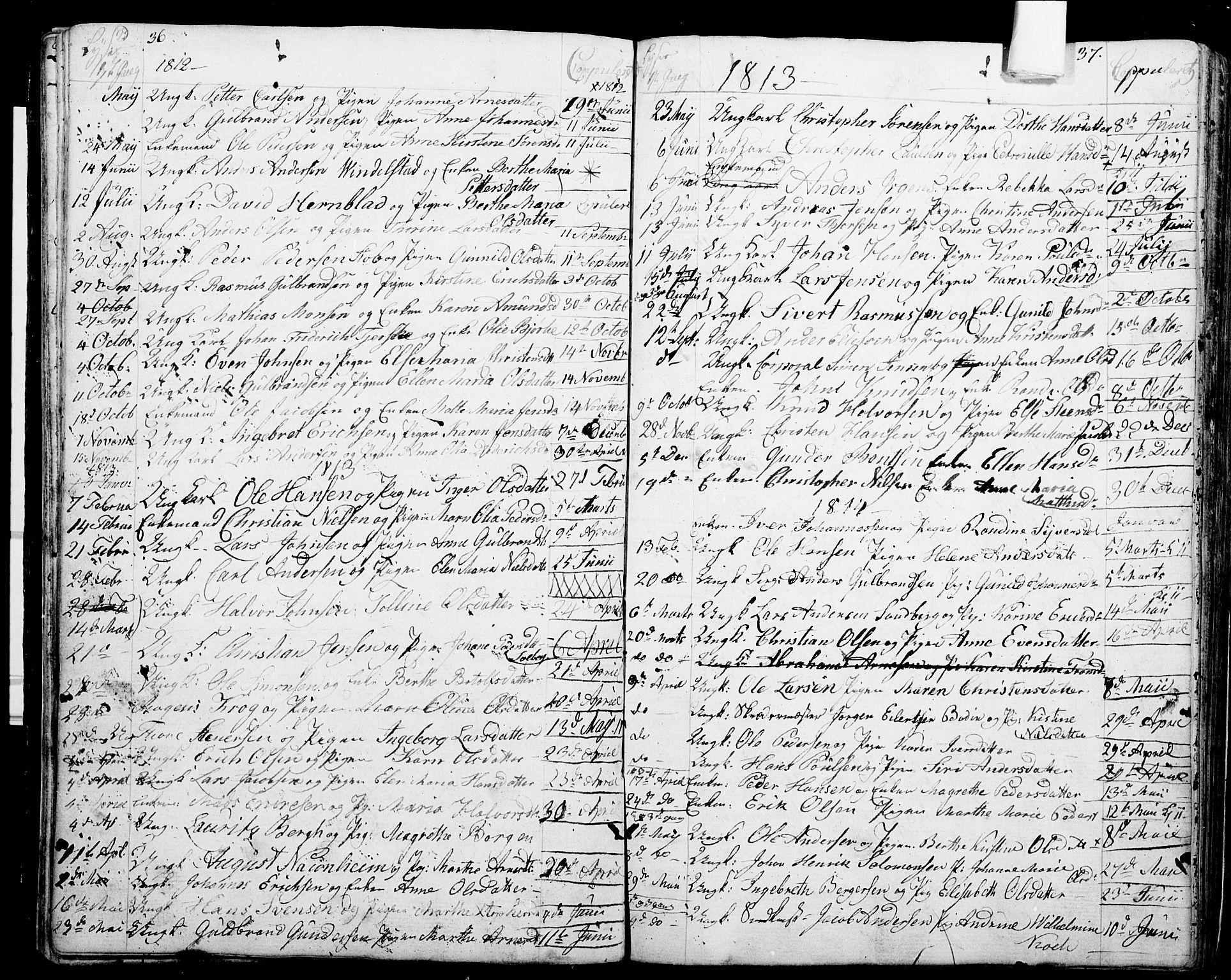 SAO, Garnisonsmenigheten Kirkebøker, G/Ga/L0001: Klokkerbok nr. 1, 1796-1814, s. 36-37