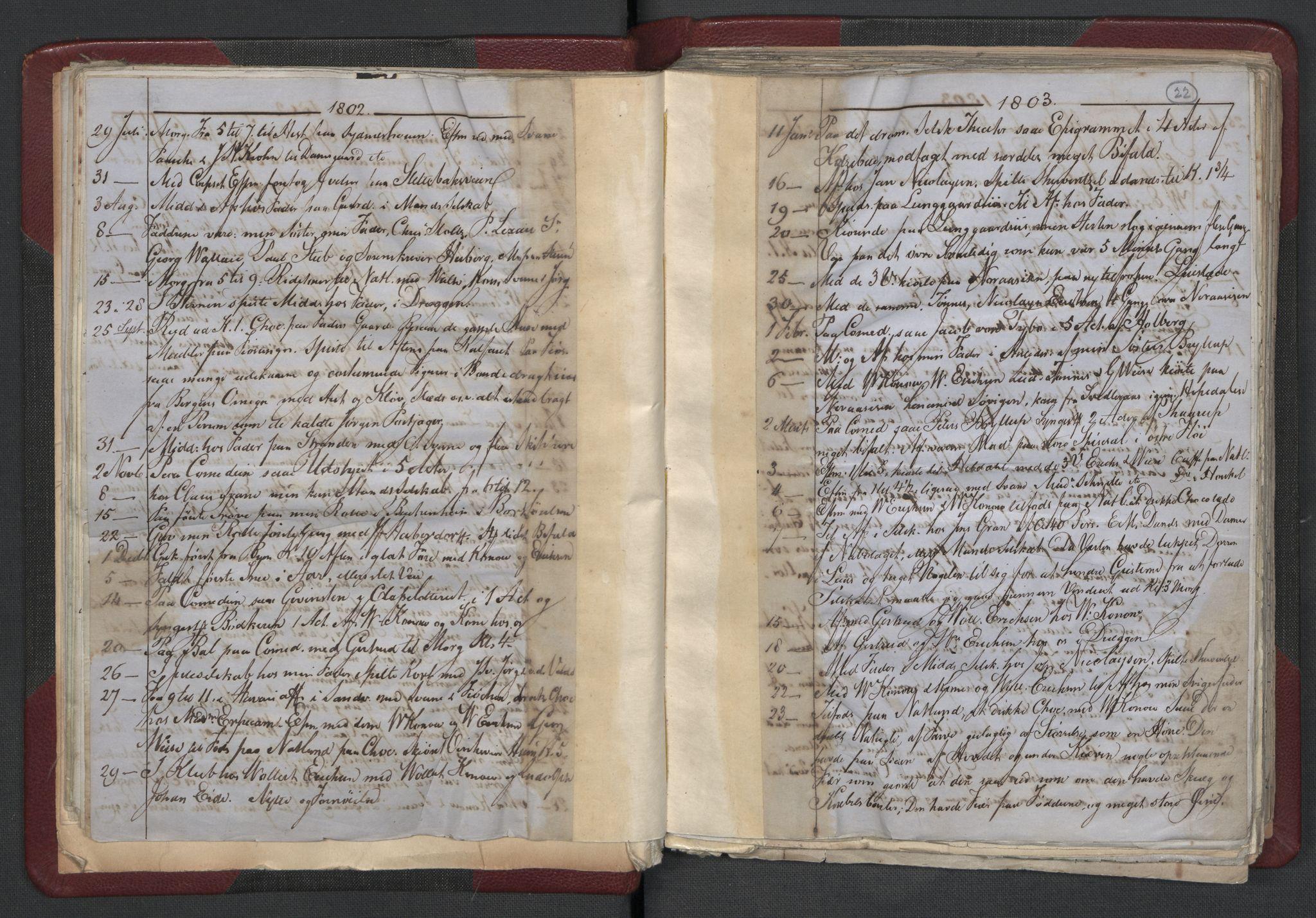 RA, Meltzer, Fredrik, F/L0001: Dagbok for årene 1796-1808, 1811, 1817, 1796-1817, s. 21b-22a